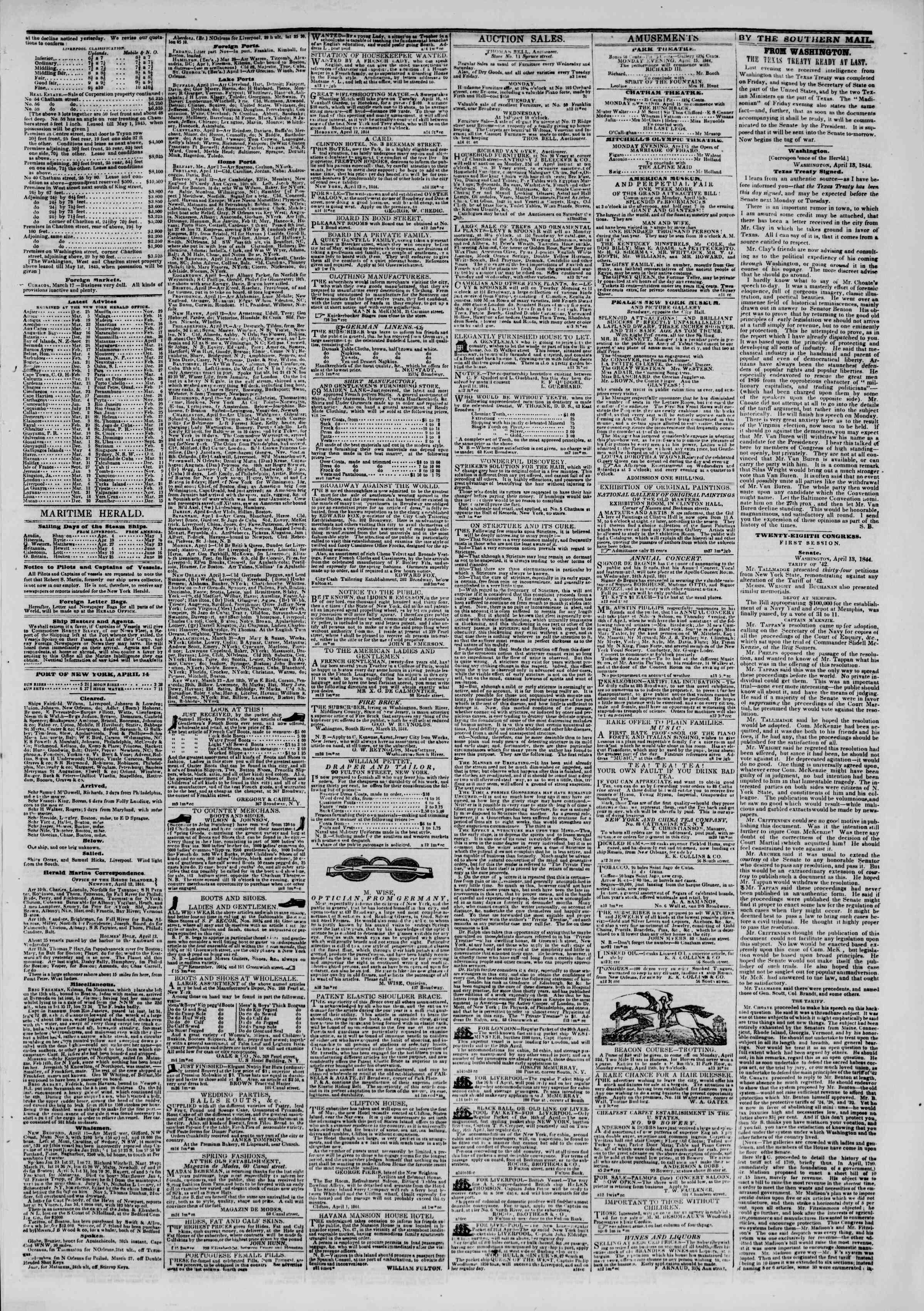April 14, 1844 Tarihli The New York Herald Gazetesi Sayfa 3