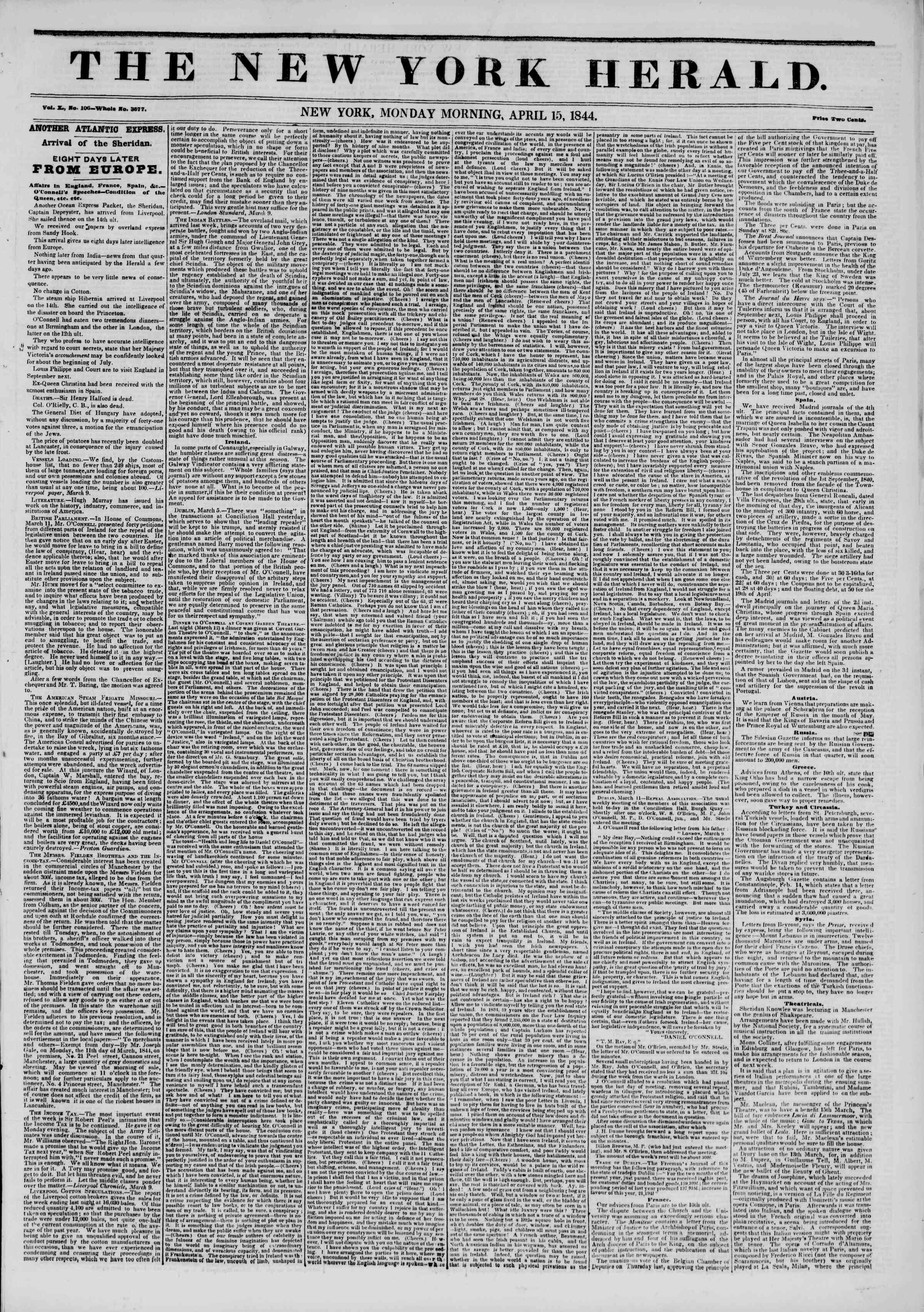 15 Nisan 1844 tarihli The New York Herald Gazetesi Sayfa 1