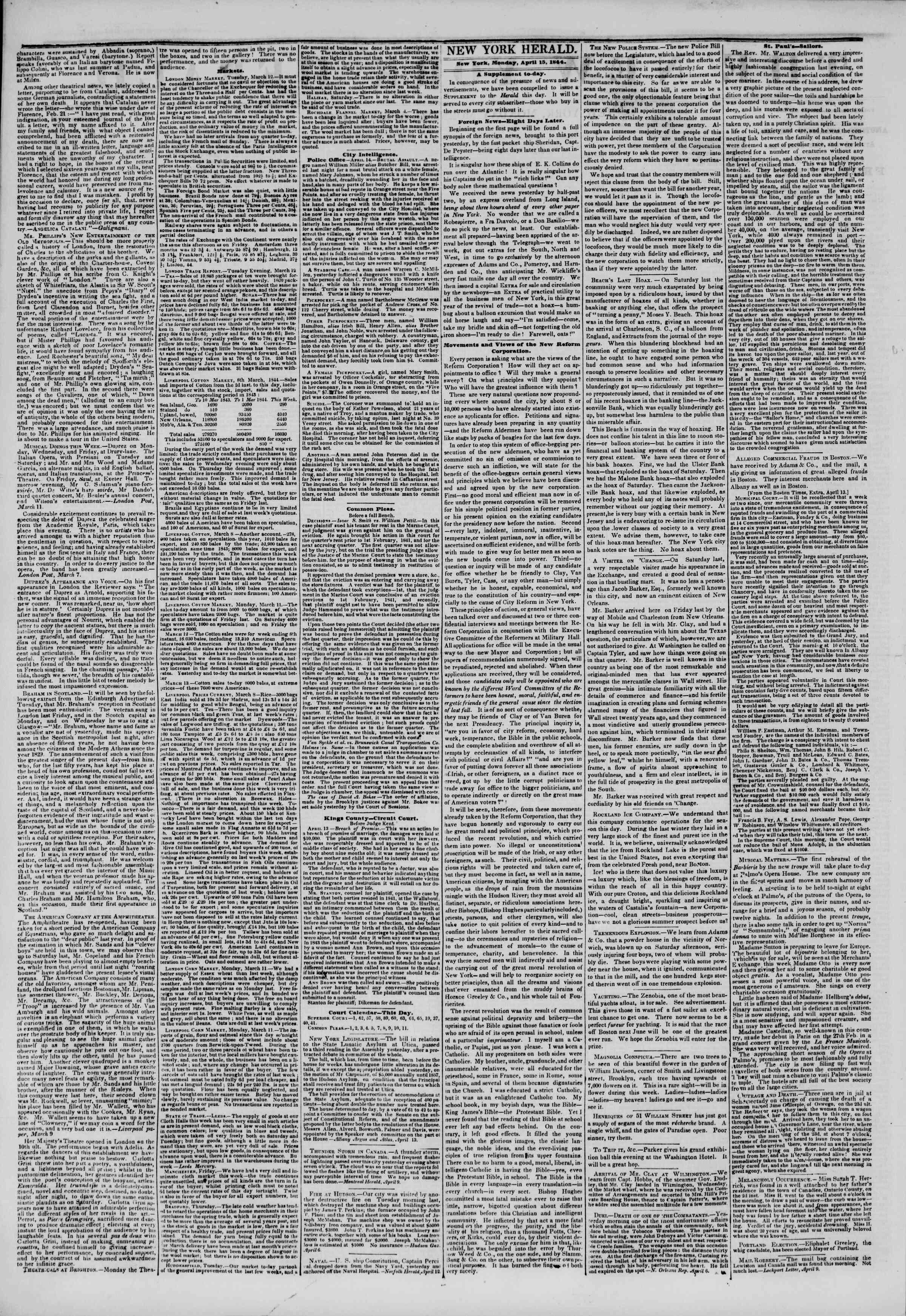 15 Nisan 1844 tarihli The New York Herald Gazetesi Sayfa 2