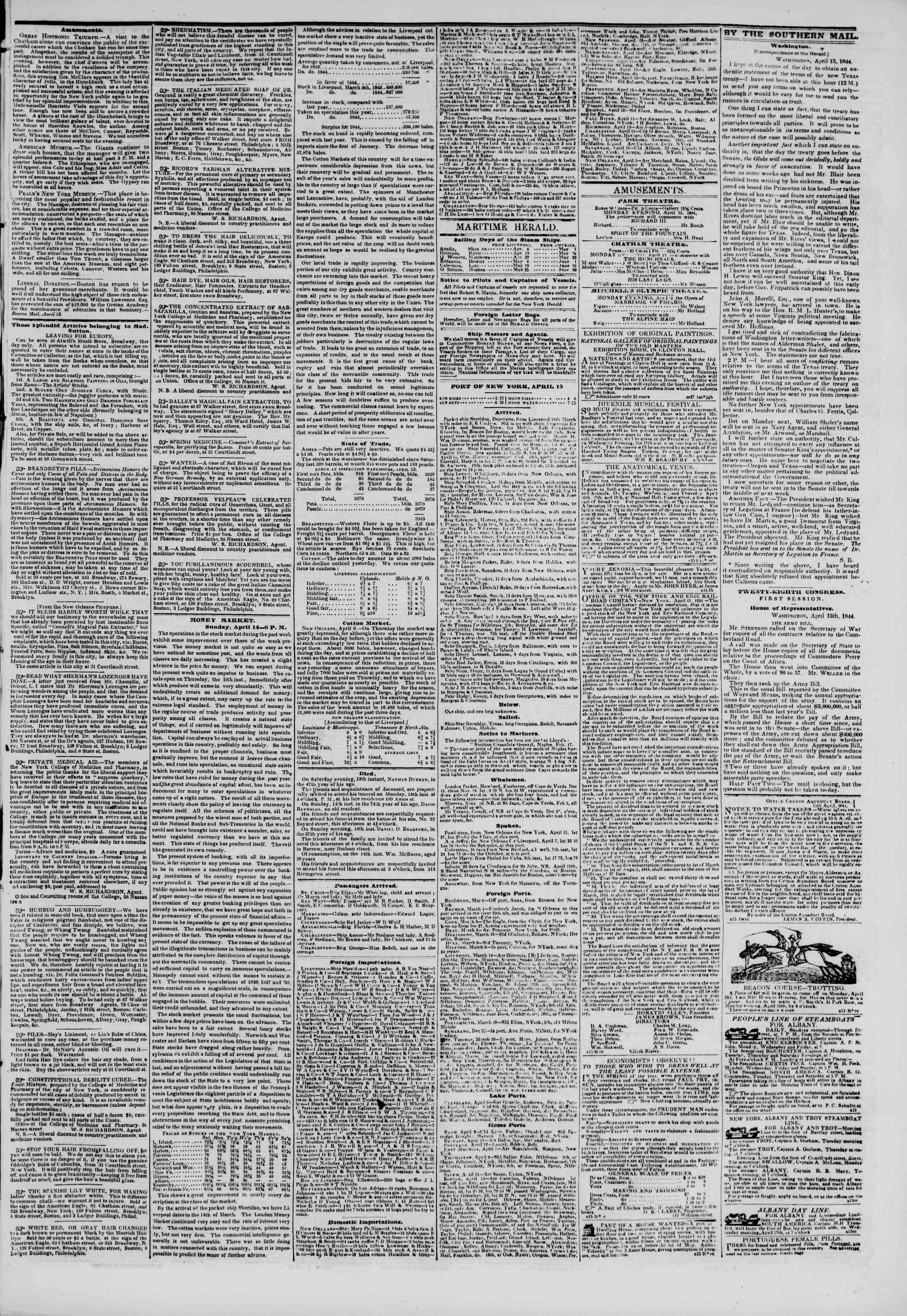 15 Nisan 1844 Tarihli The New York Herald Gazetesi Sayfa 3