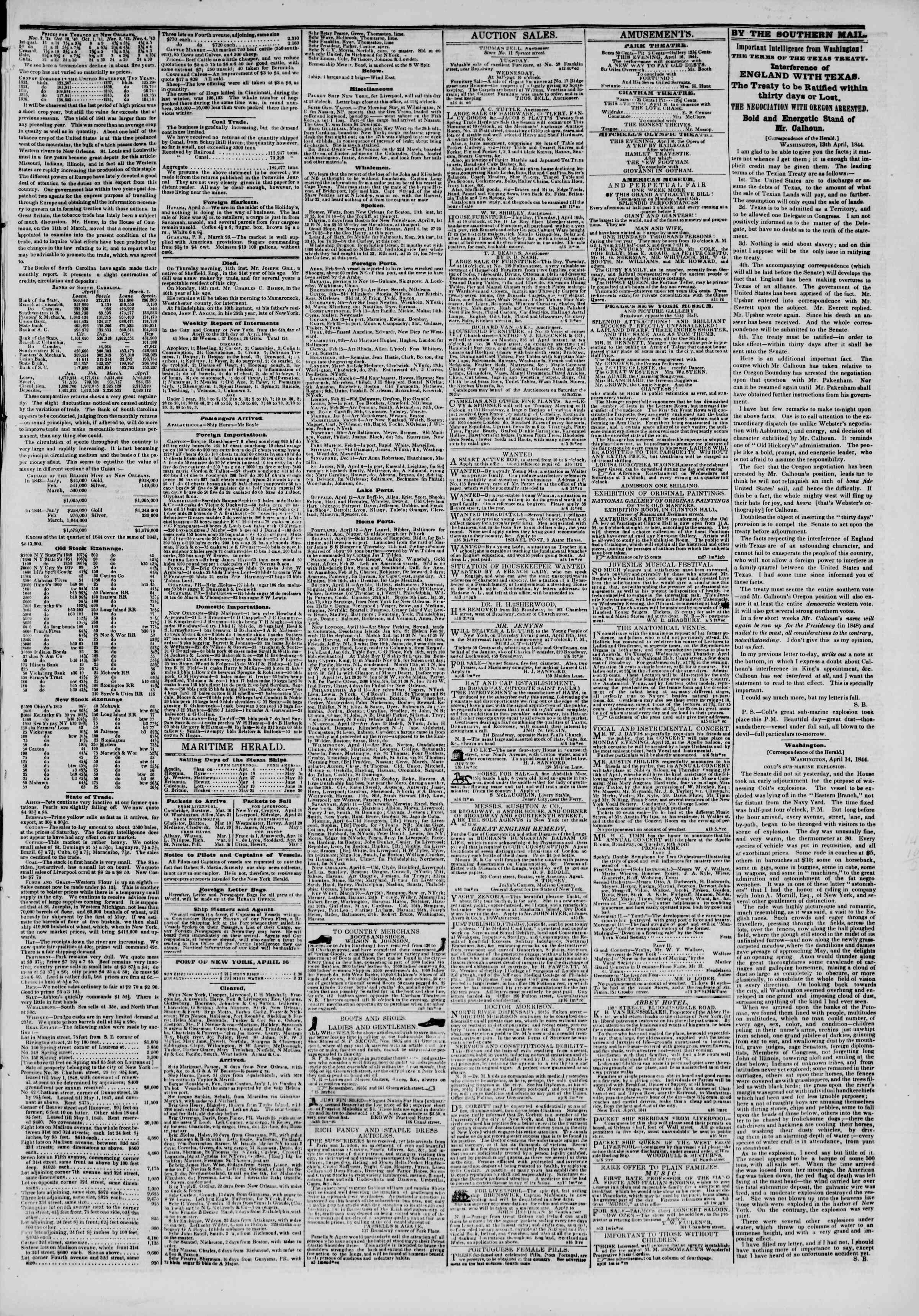 April 16, 1844 Tarihli The New York Herald Gazetesi Sayfa 3