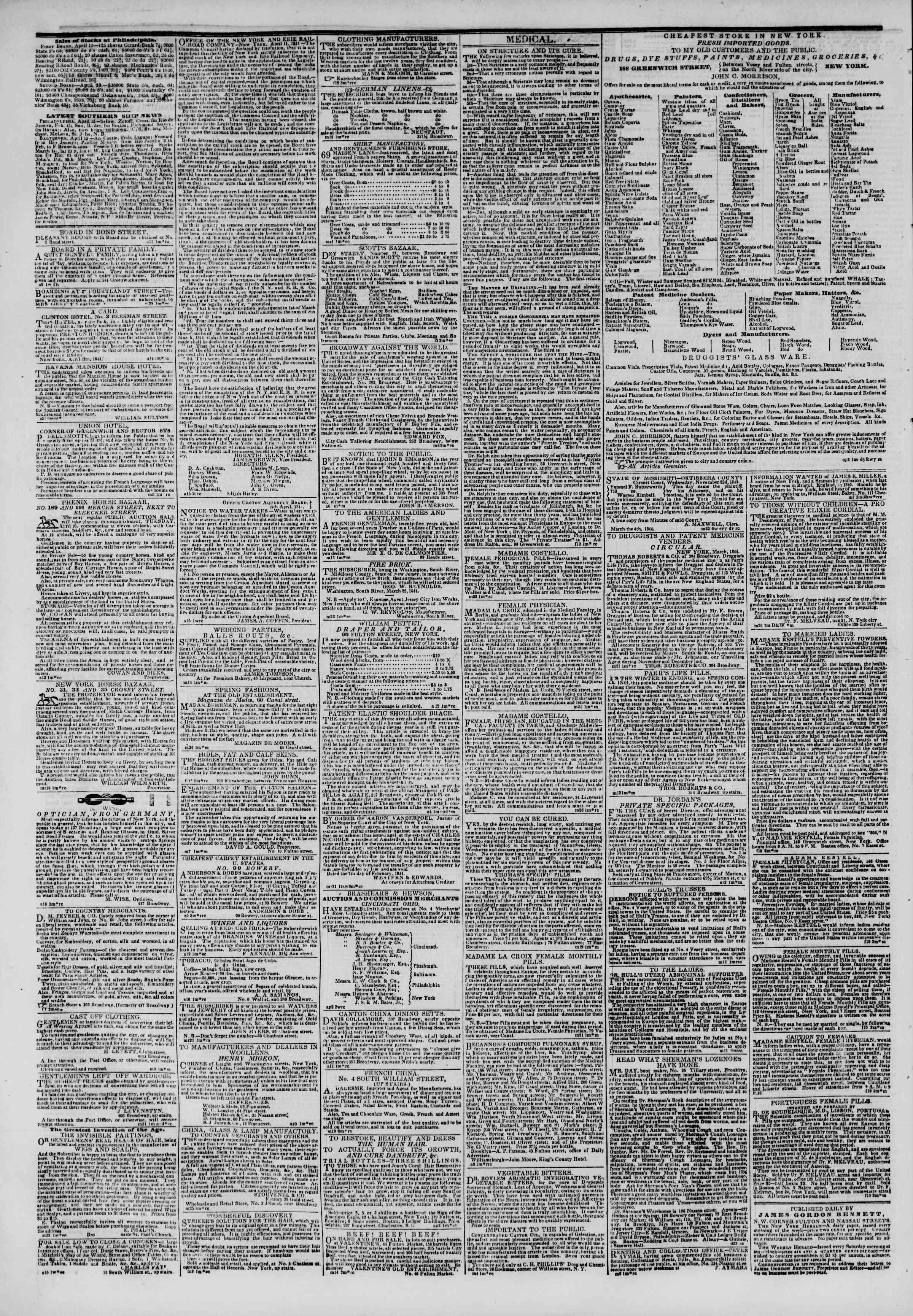 April 16, 1844 Tarihli The New York Herald Gazetesi Sayfa 4