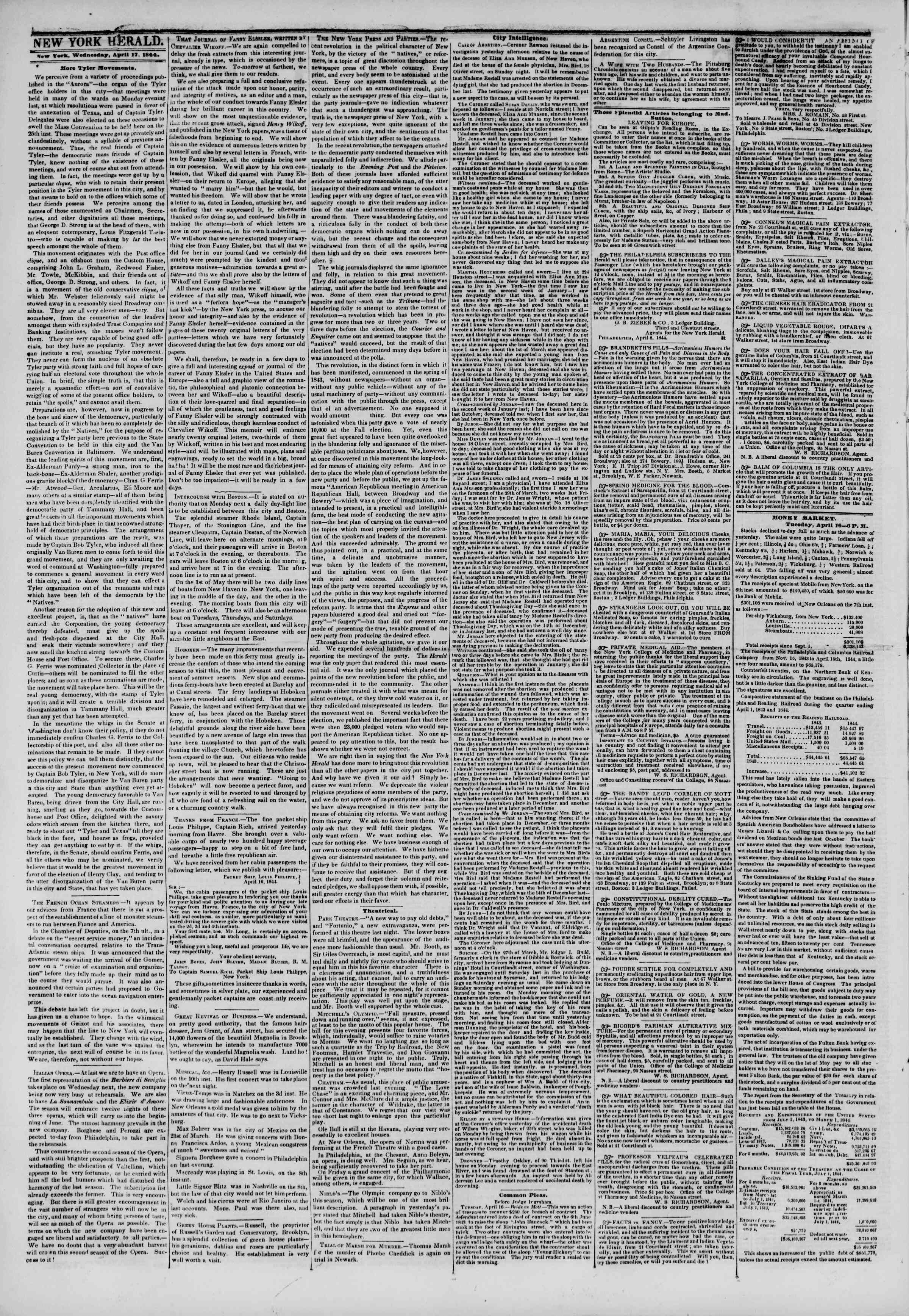 Newspaper of The New York Herald dated April 17, 1844 Page 2