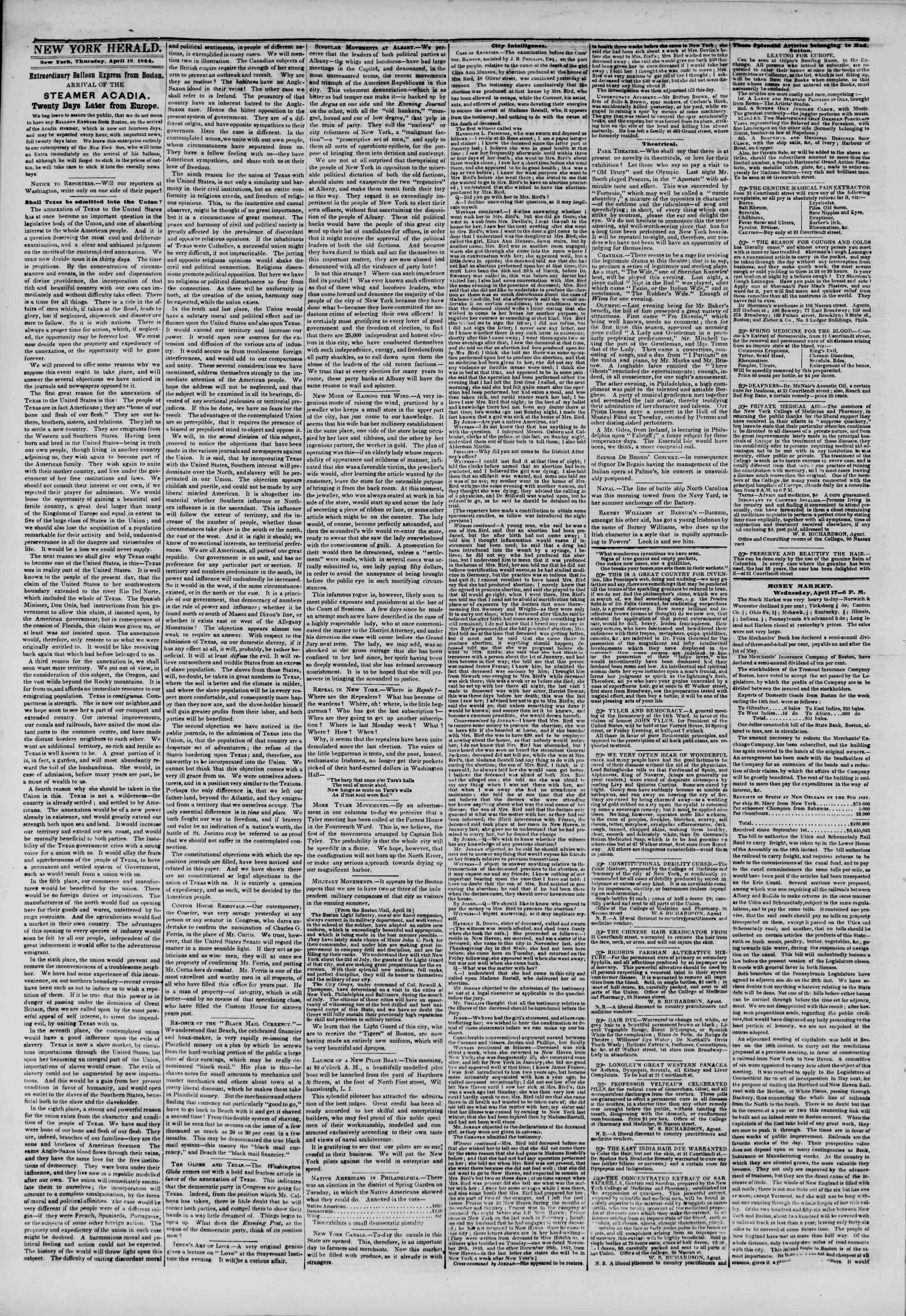 April 18, 1844 Tarihli The New York Herald Gazetesi Sayfa 2