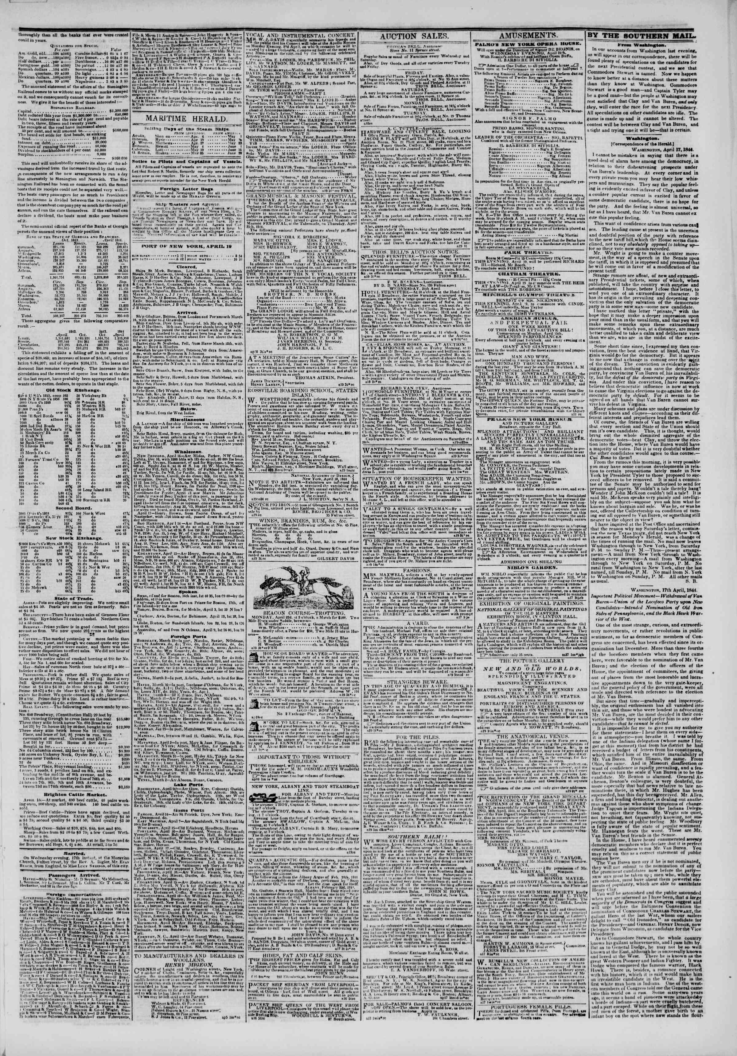 April 19, 1844 Tarihli The New York Herald Gazetesi Sayfa 3