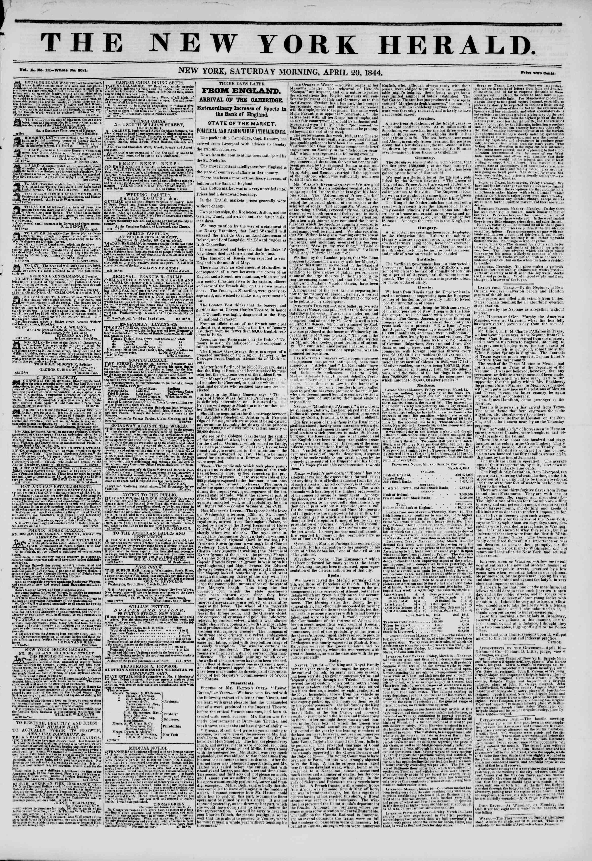 April 20, 1844 Tarihli The New York Herald Gazetesi Sayfa 1