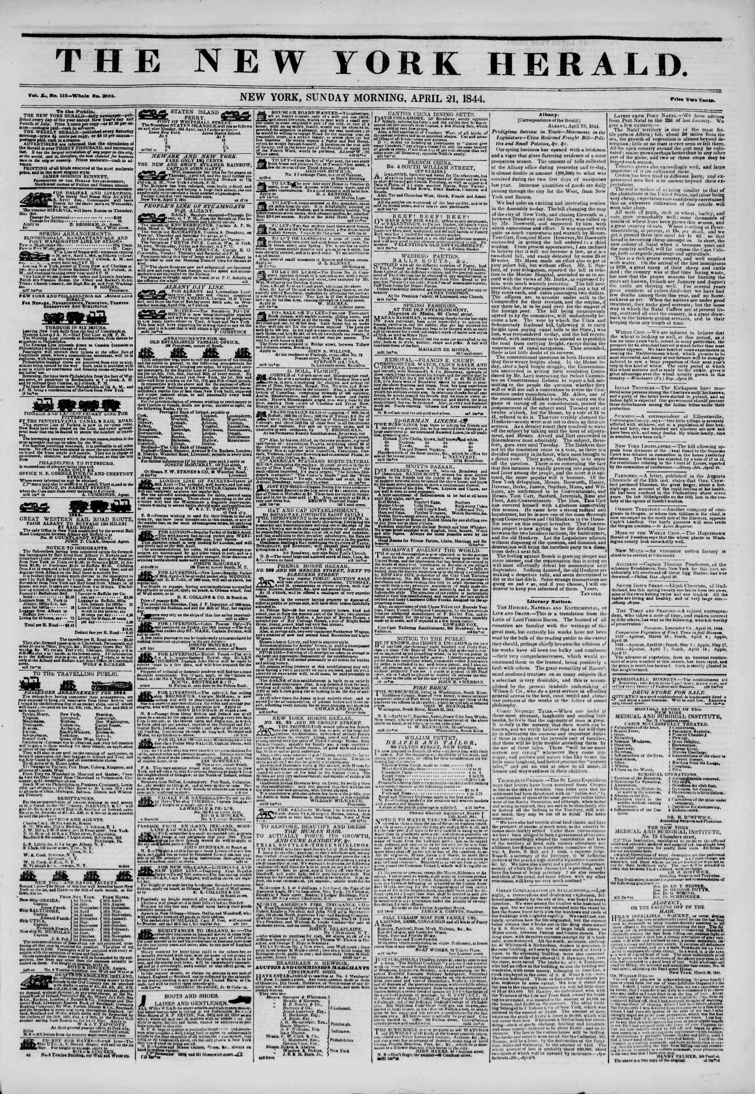 April 21, 1844 Tarihli The New York Herald Gazetesi Sayfa 1