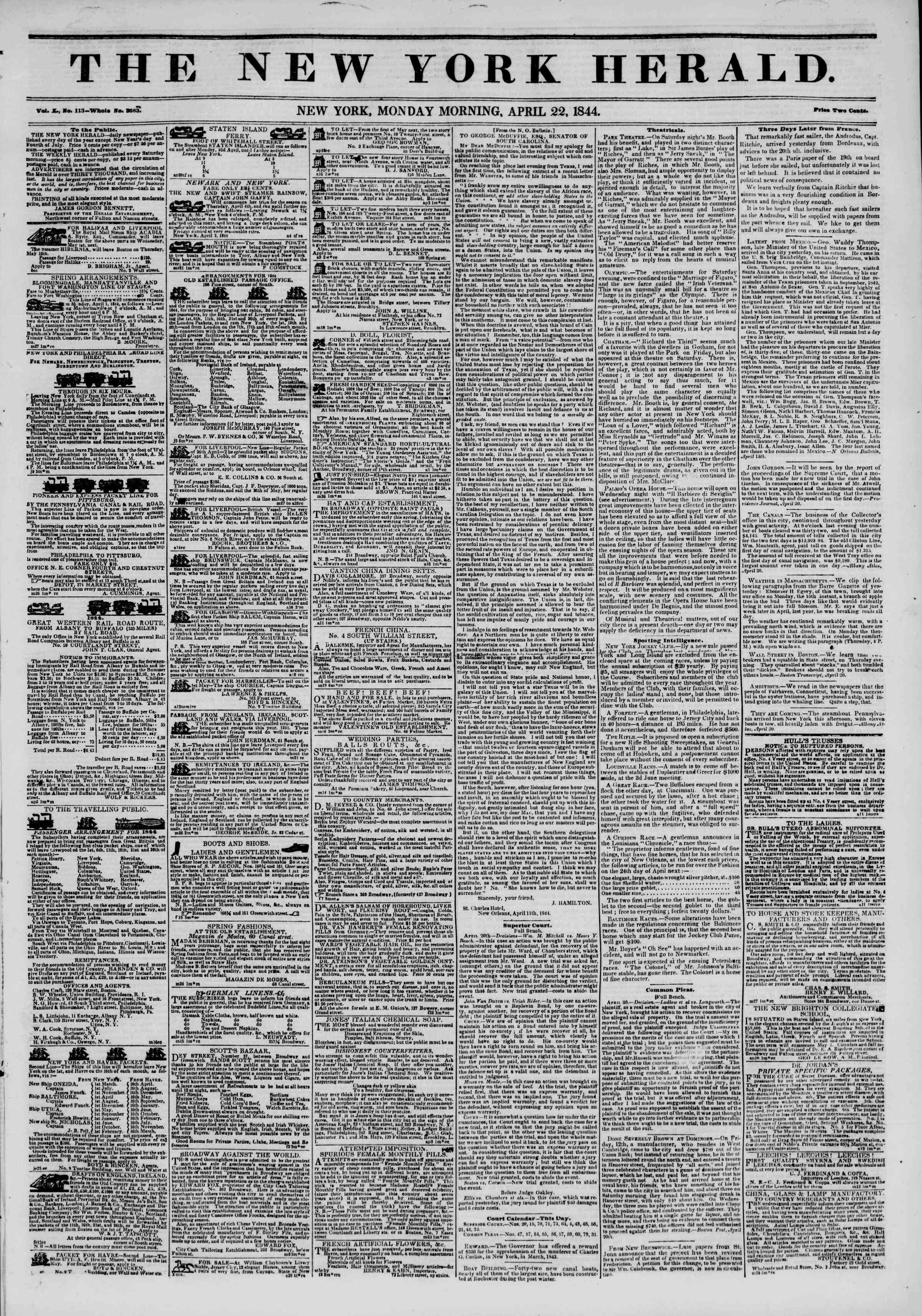 Newspaper of The New York Herald dated April 22, 1844 Page 1