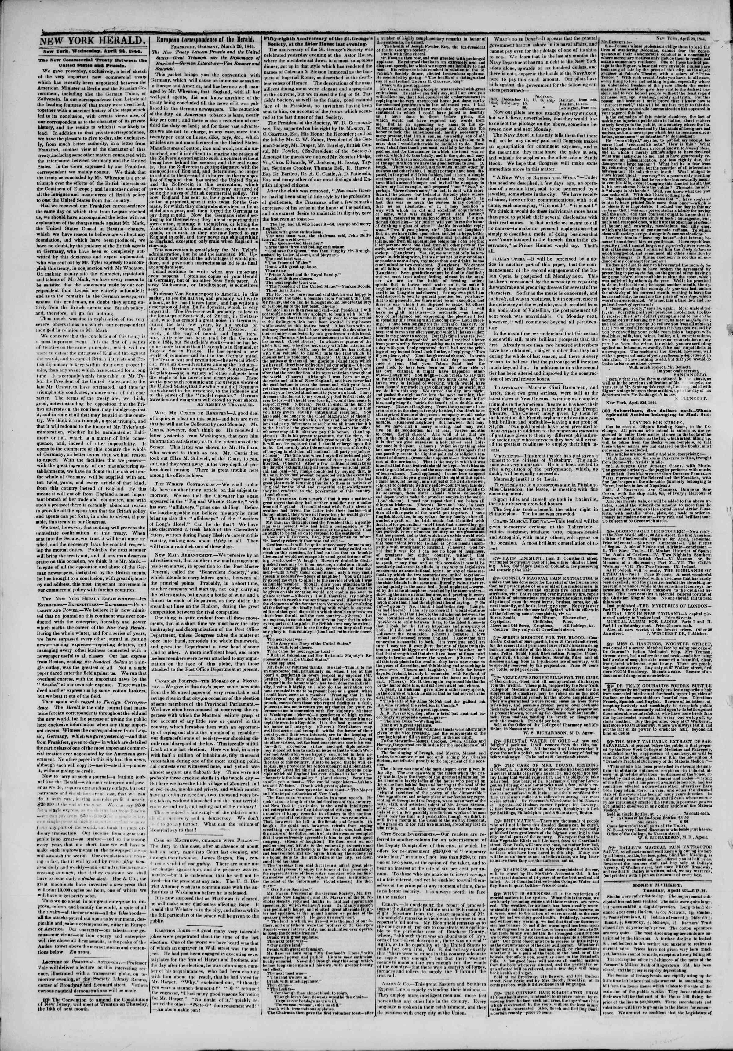 Newspaper of The New York Herald dated April 24, 1844 Page 2