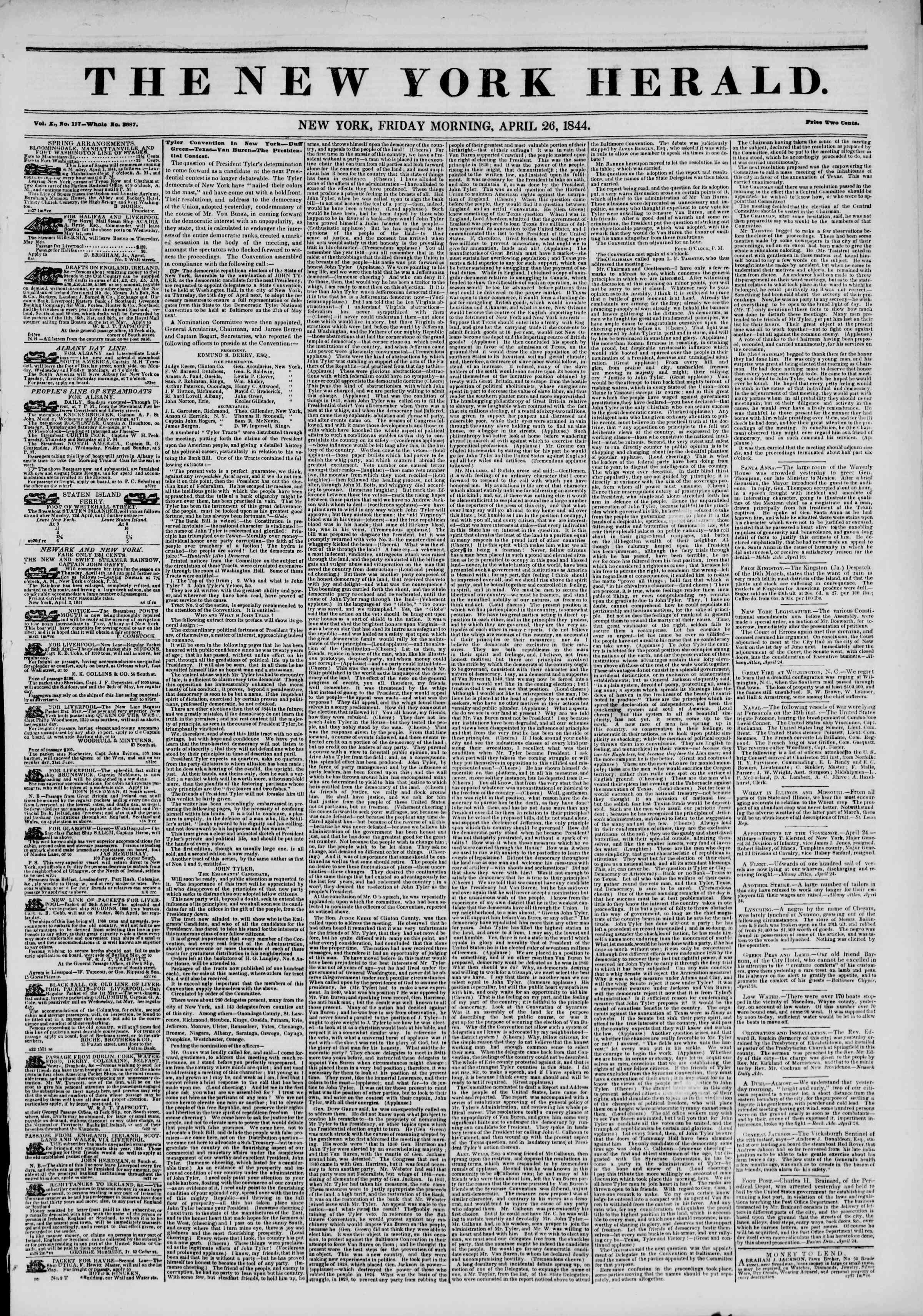 April 26, 1844 Tarihli The New York Herald Gazetesi Sayfa 1