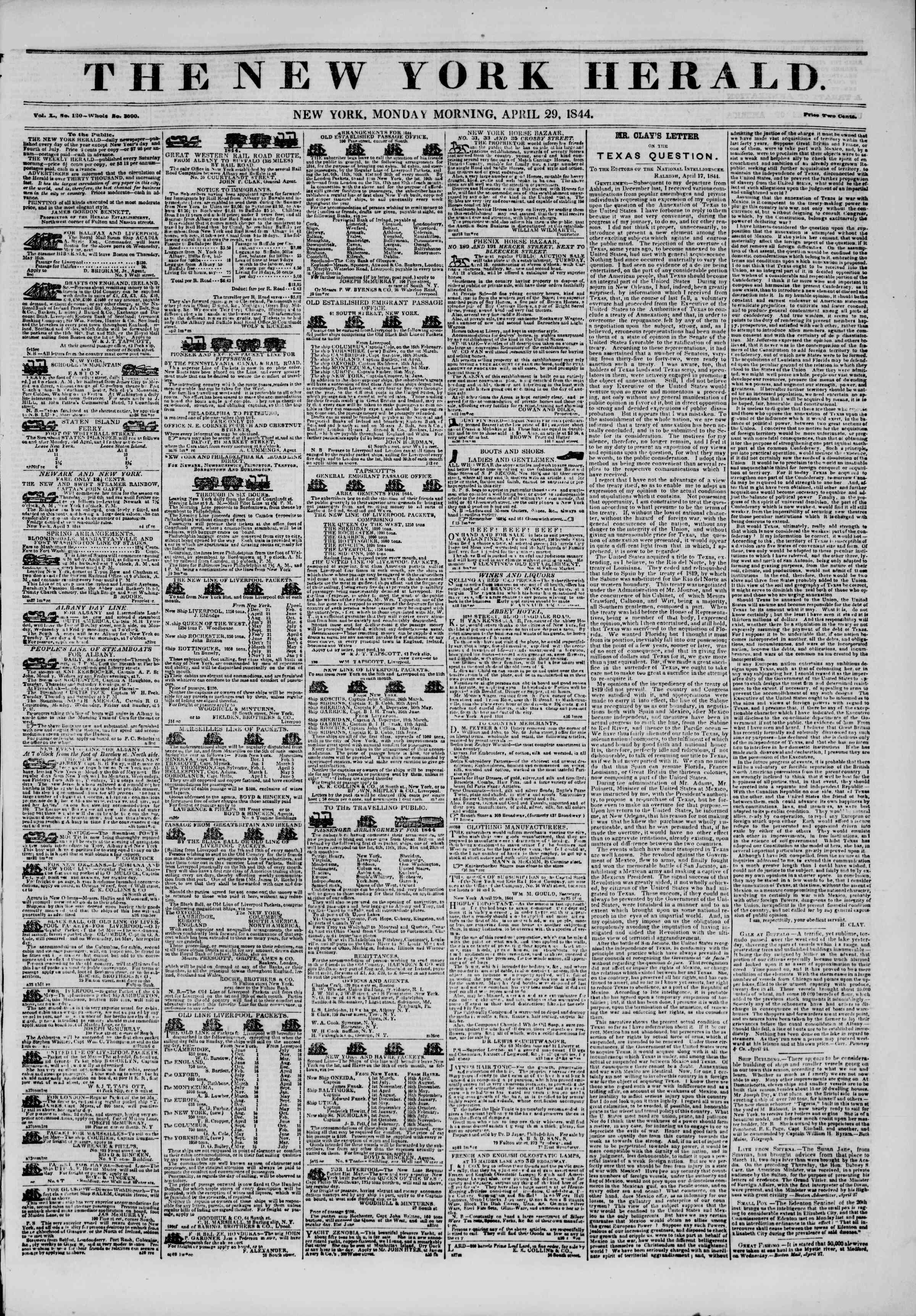 April 29, 1844 Tarihli The New York Herald Gazetesi Sayfa 1