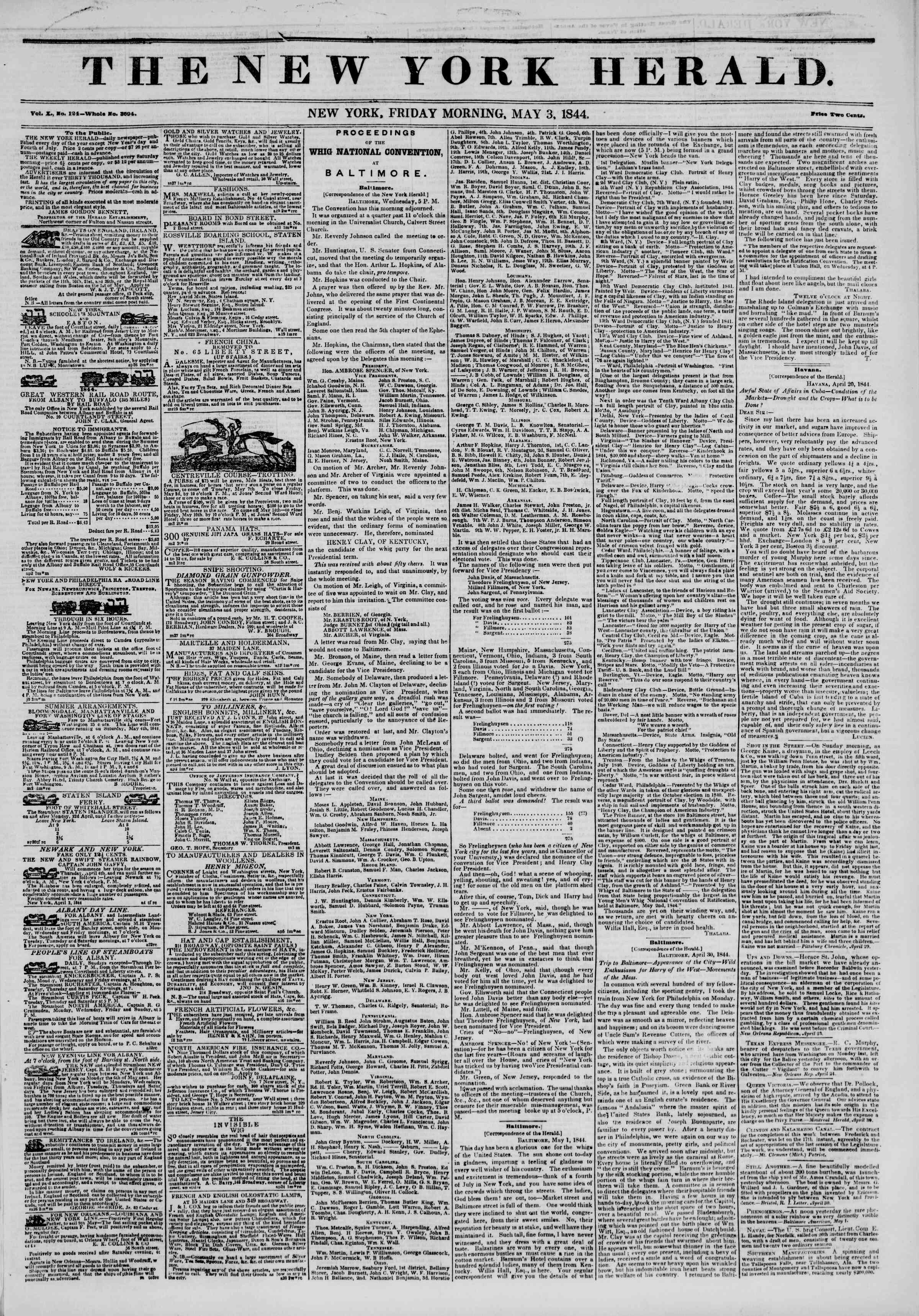 Newspaper of The New York Herald dated May 3, 1844 Page 1