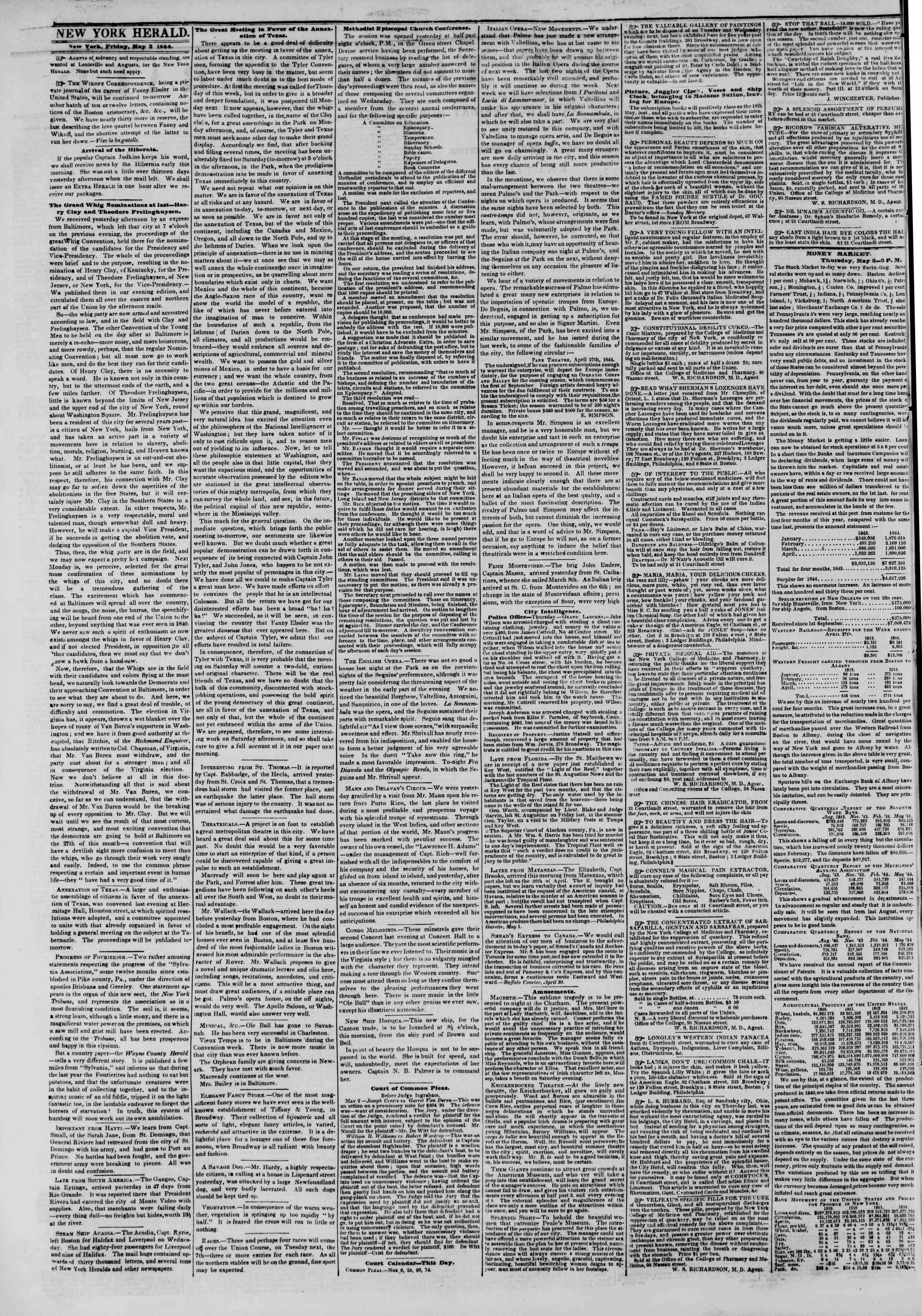May 3, 1844 Tarihli The New York Herald Gazetesi Sayfa 2