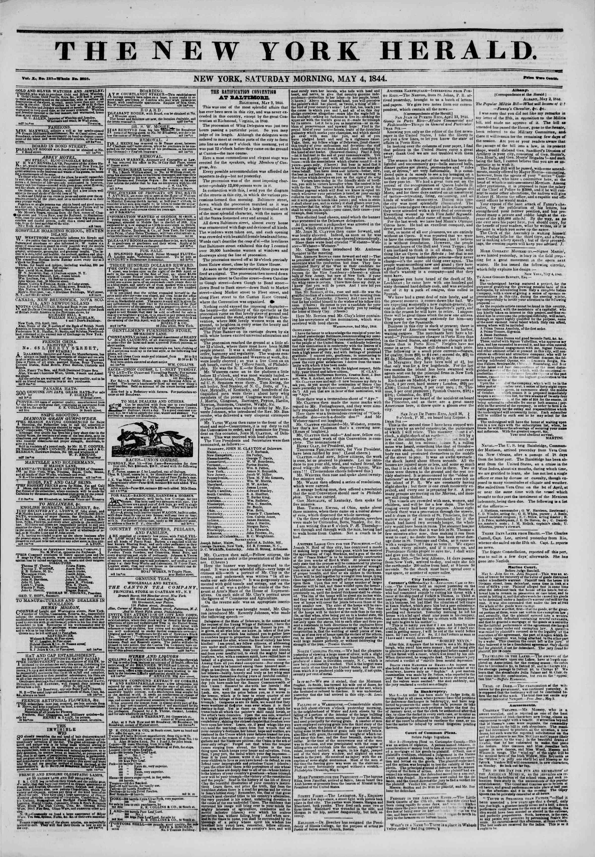 Newspaper of The New York Herald dated May 4, 1844 Page 1