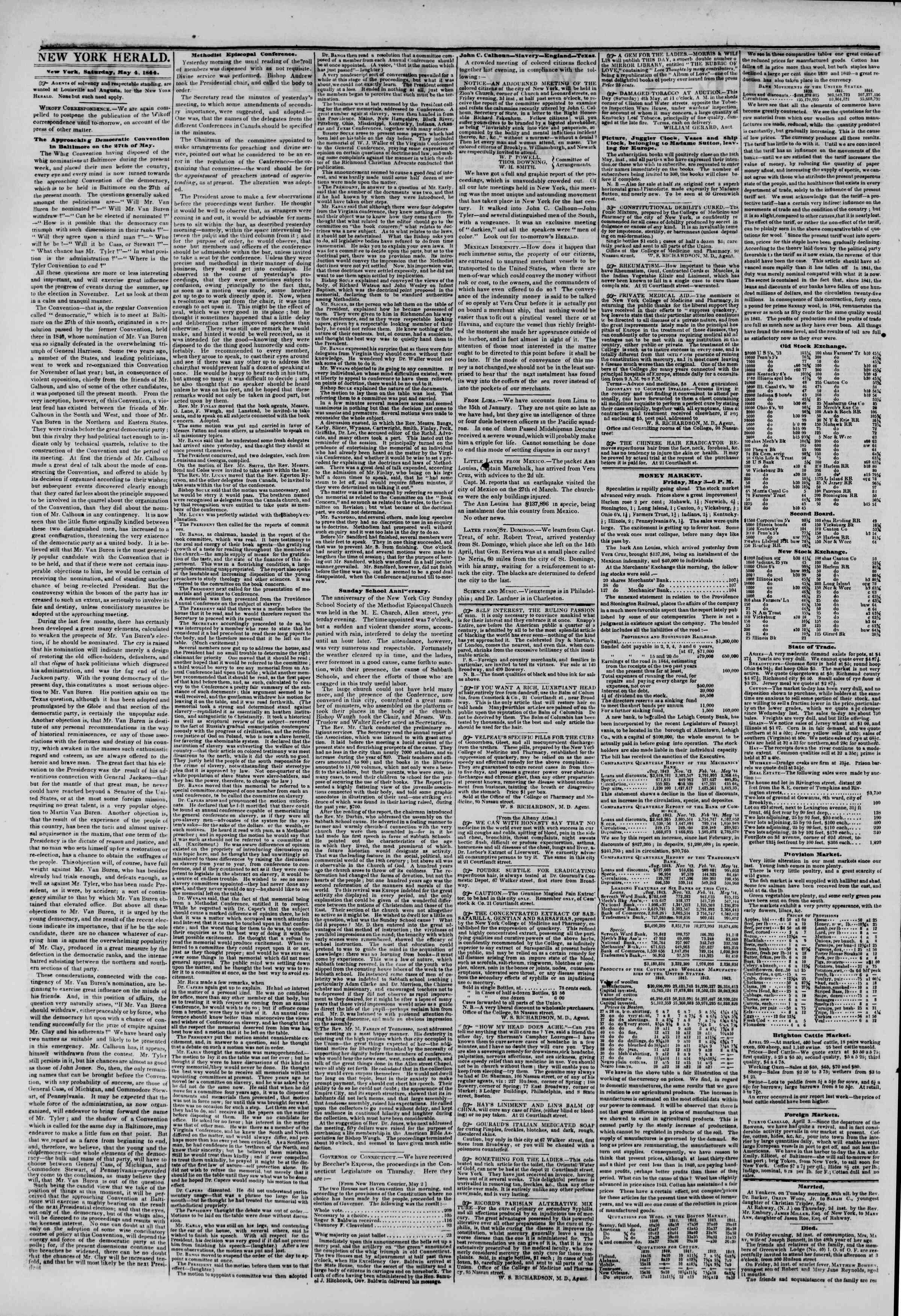 May 4, 1844 Tarihli The New York Herald Gazetesi Sayfa 2