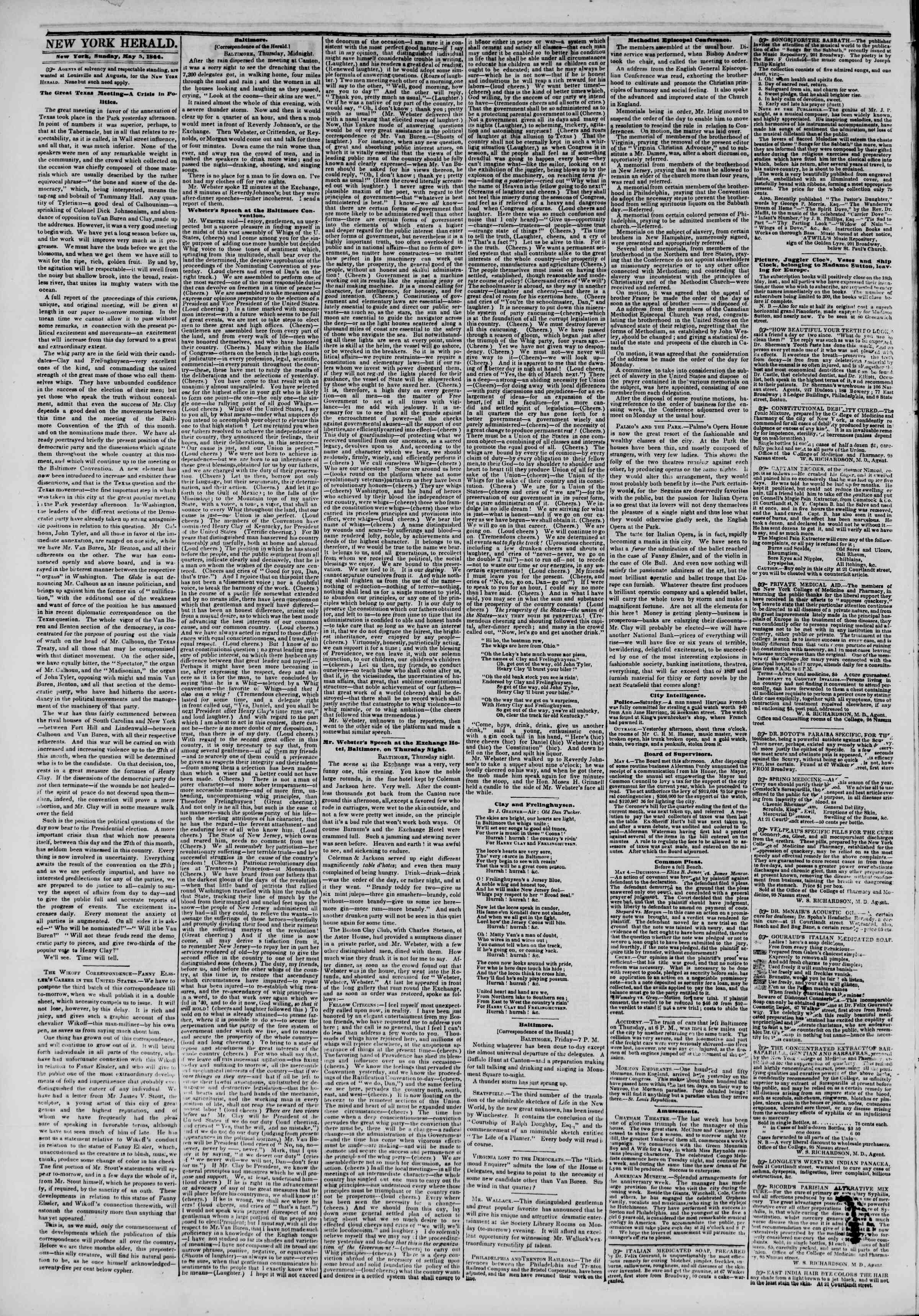 Newspaper of The New York Herald dated May 5, 1844 Page 2