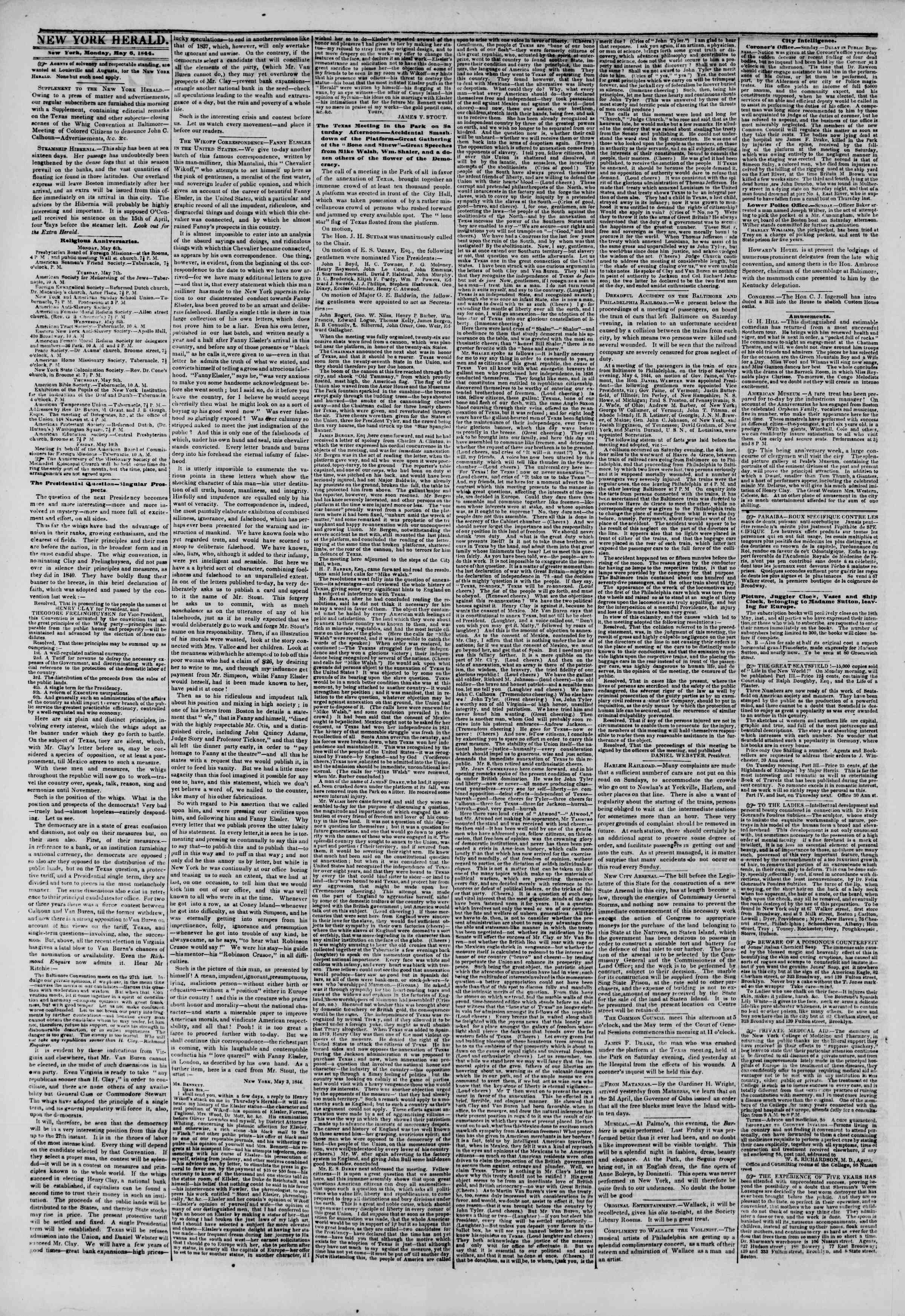 Newspaper of The New York Herald dated May 6, 1844 Page 2