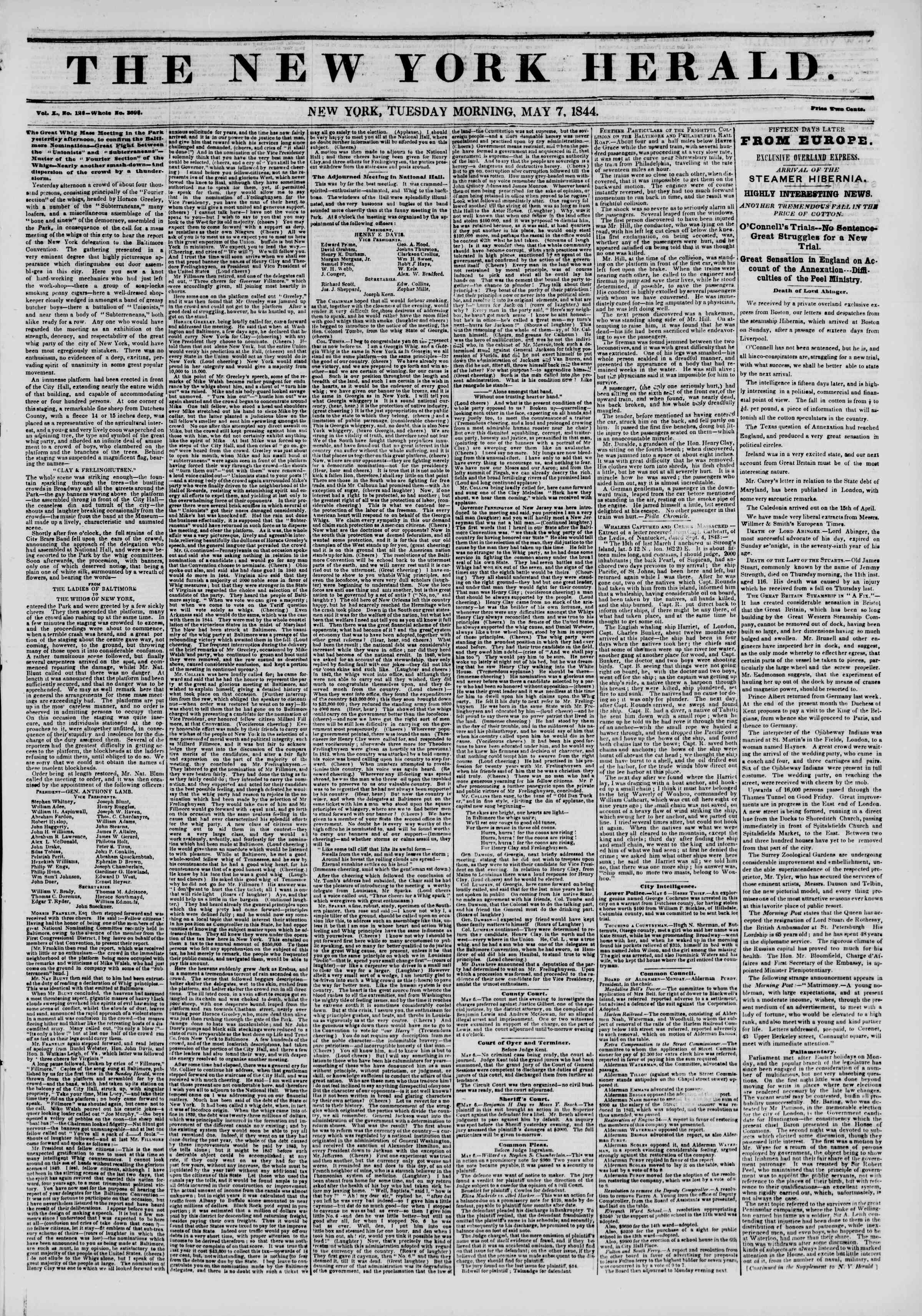 May 7, 1844 Tarihli The New York Herald Gazetesi Sayfa 1