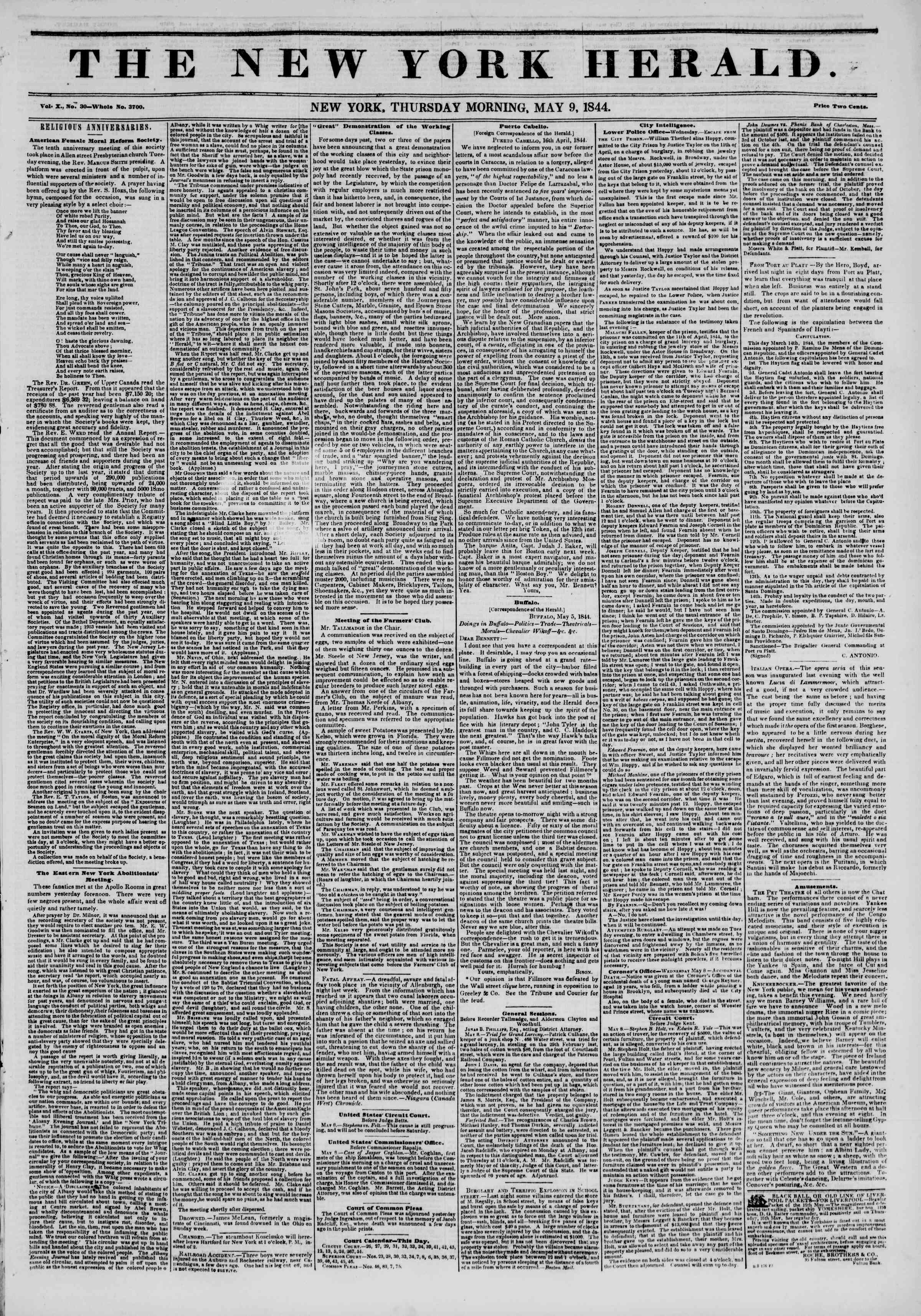 Newspaper of The New York Herald dated May 9, 1844 Page 1