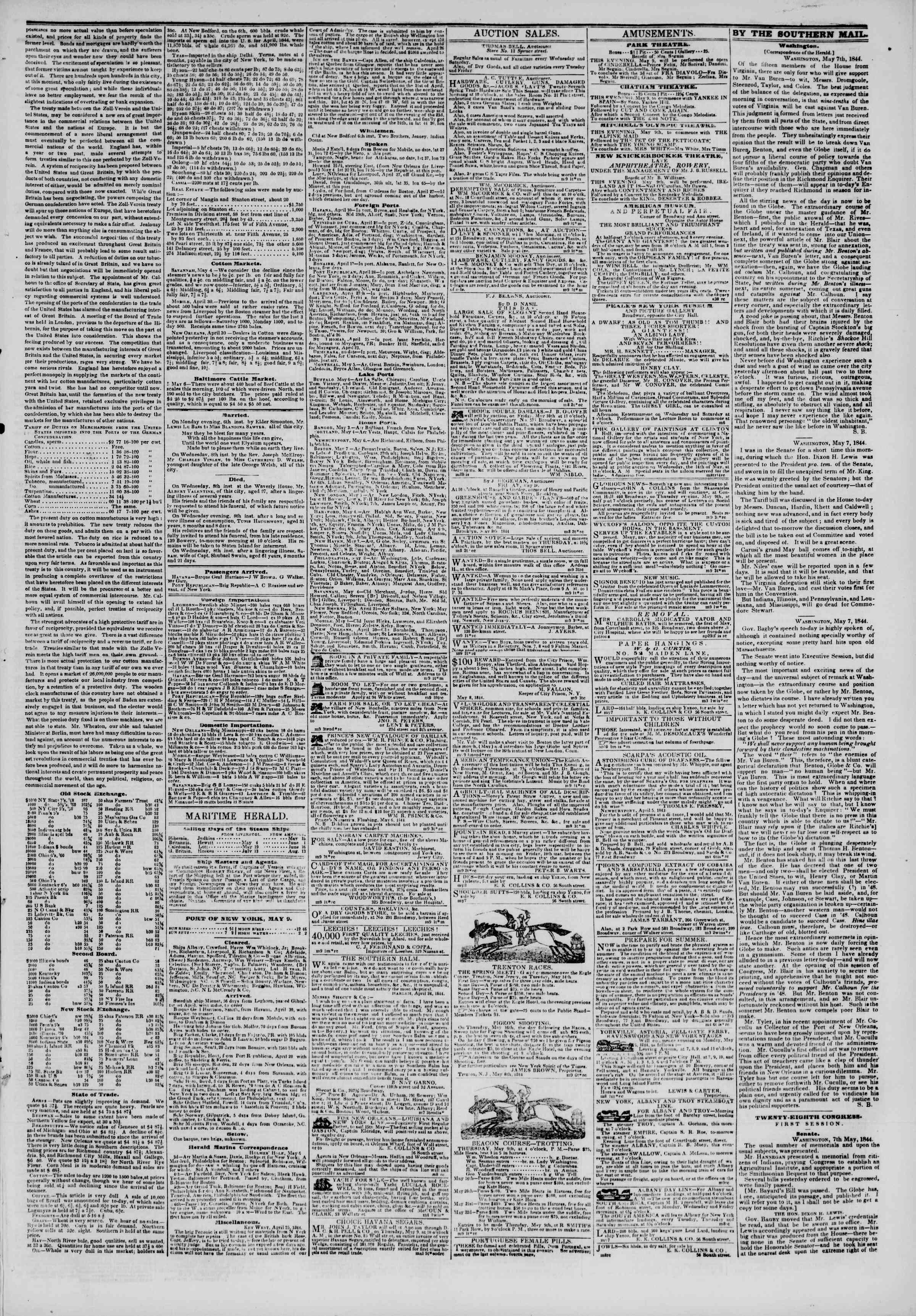 May 9, 1844 Tarihli The New York Herald Gazetesi Sayfa 3