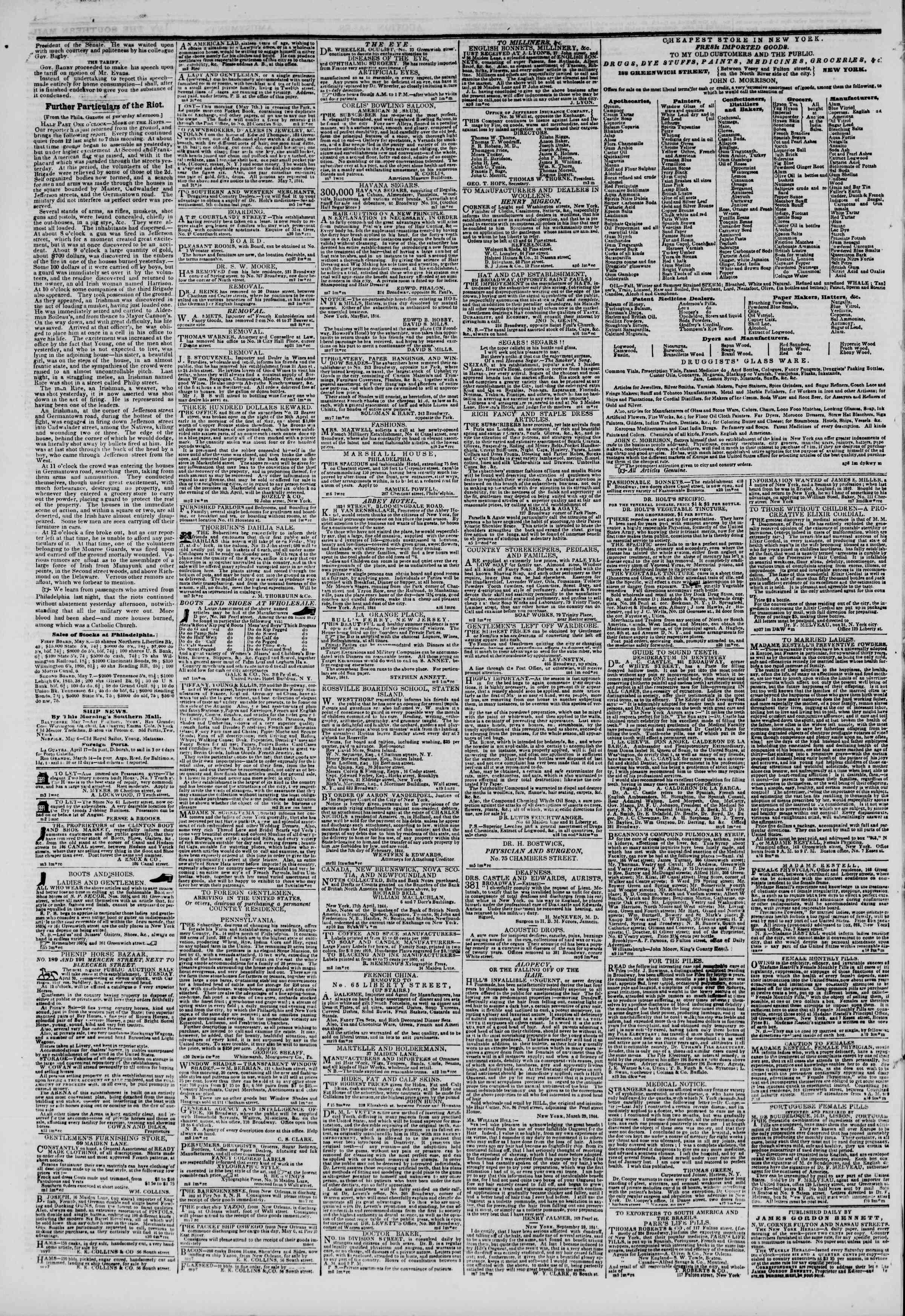 May 9, 1844 Tarihli The New York Herald Gazetesi Sayfa 4