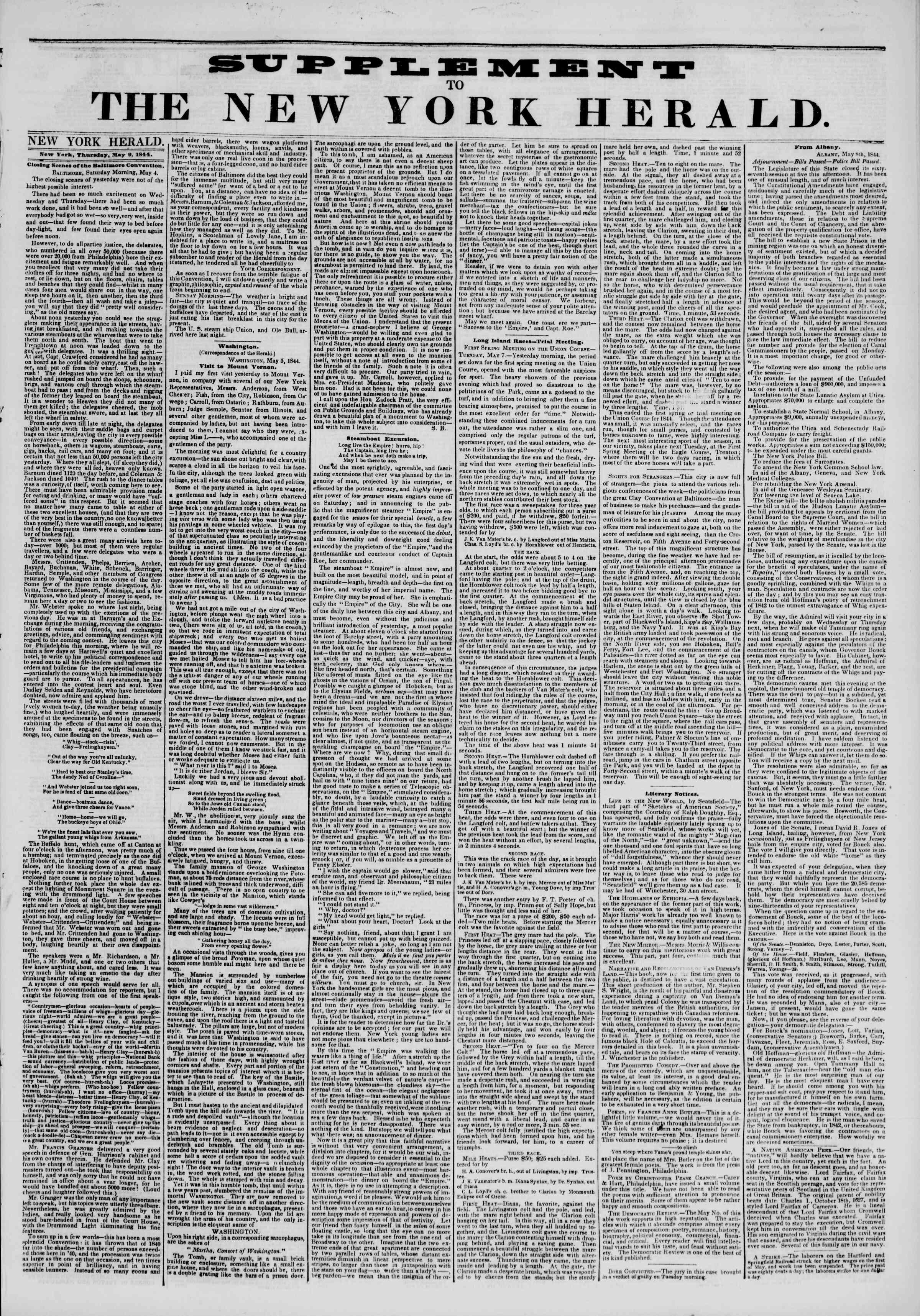 9 Mayıs 1844 tarihli The New York Herald Gazetesi Sayfa 5
