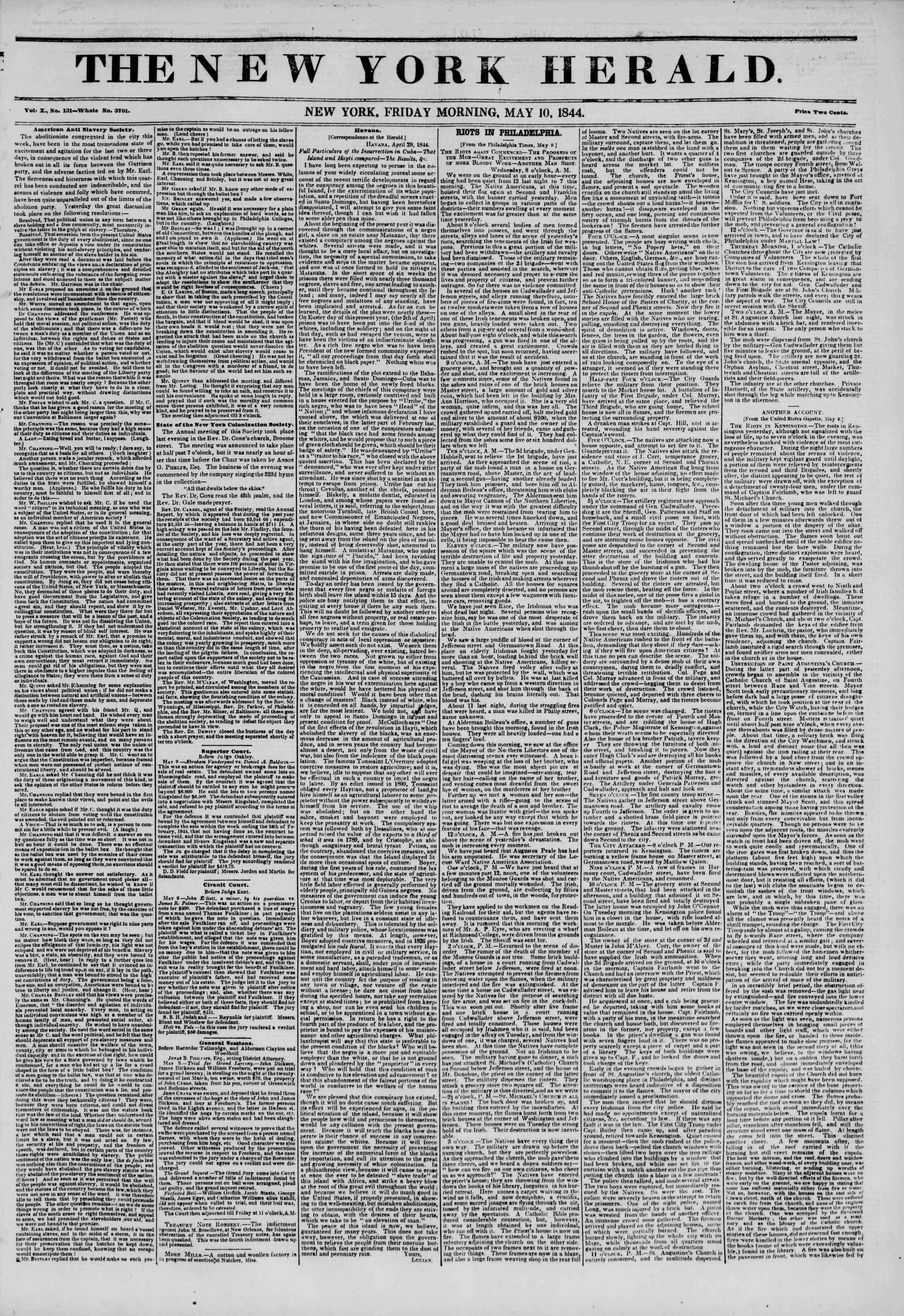 May 10, 1844 Tarihli The New York Herald Gazetesi Sayfa 1