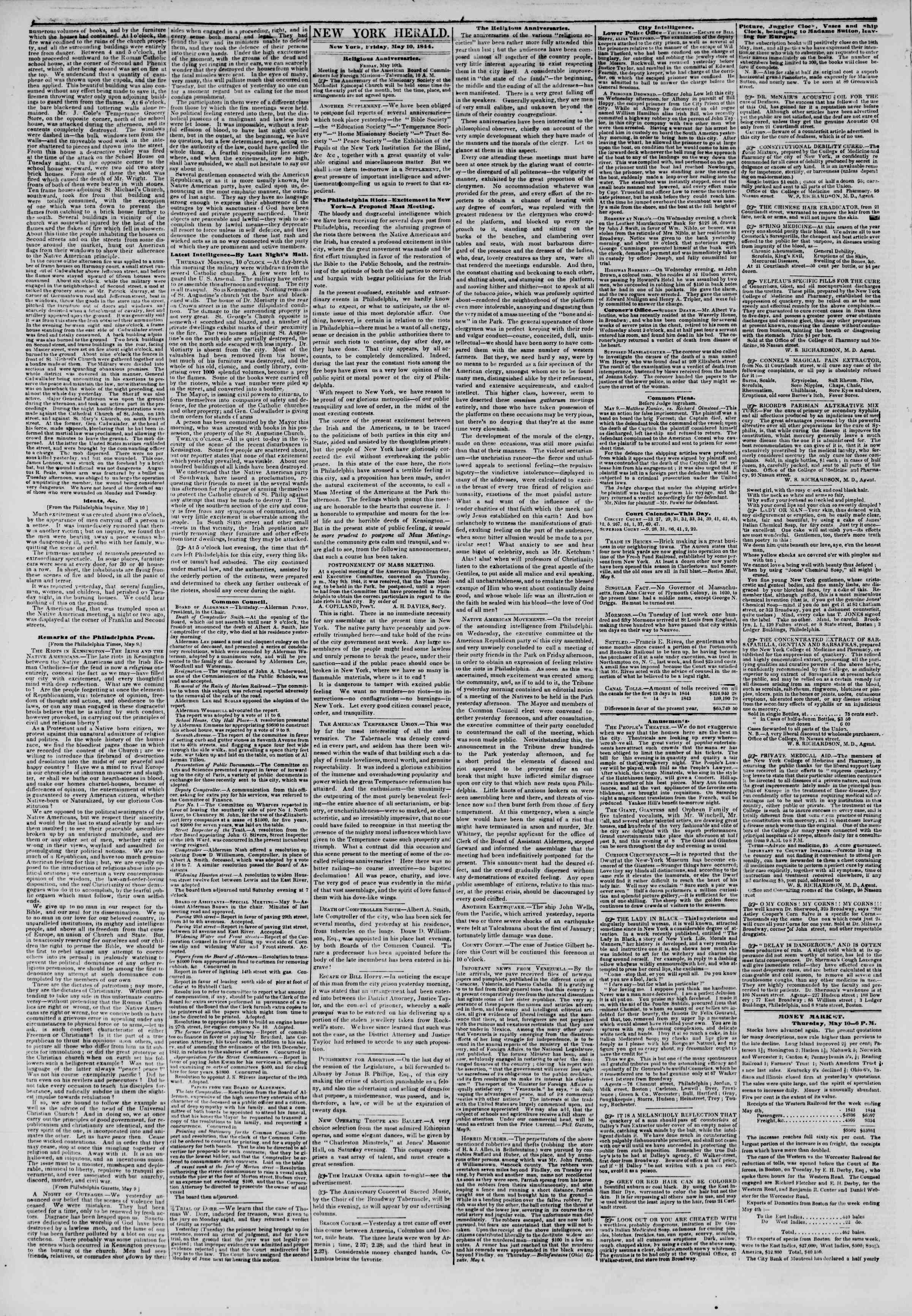 Newspaper of The New York Herald dated May 10, 1844 Page 2