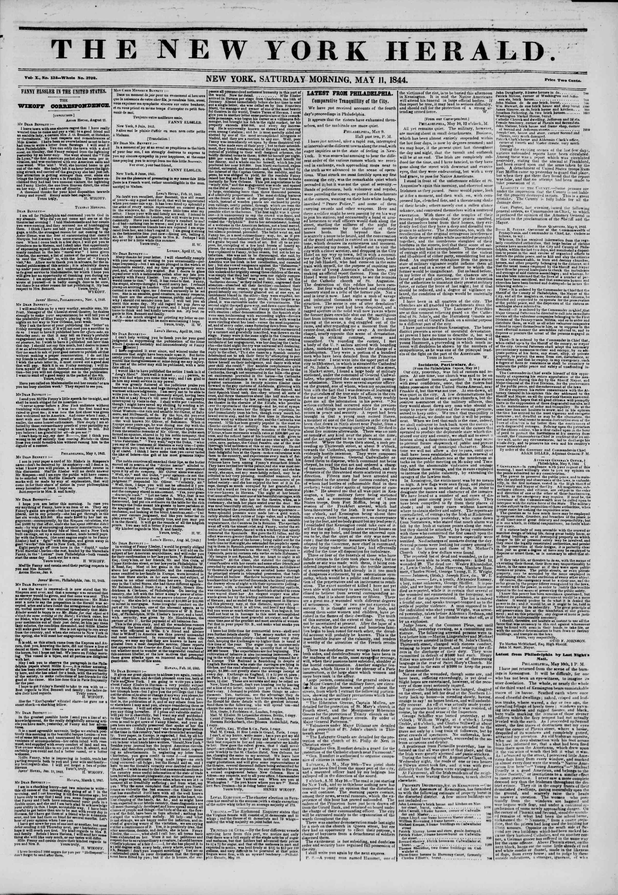 May 11, 1844 Tarihli The New York Herald Gazetesi Sayfa 1