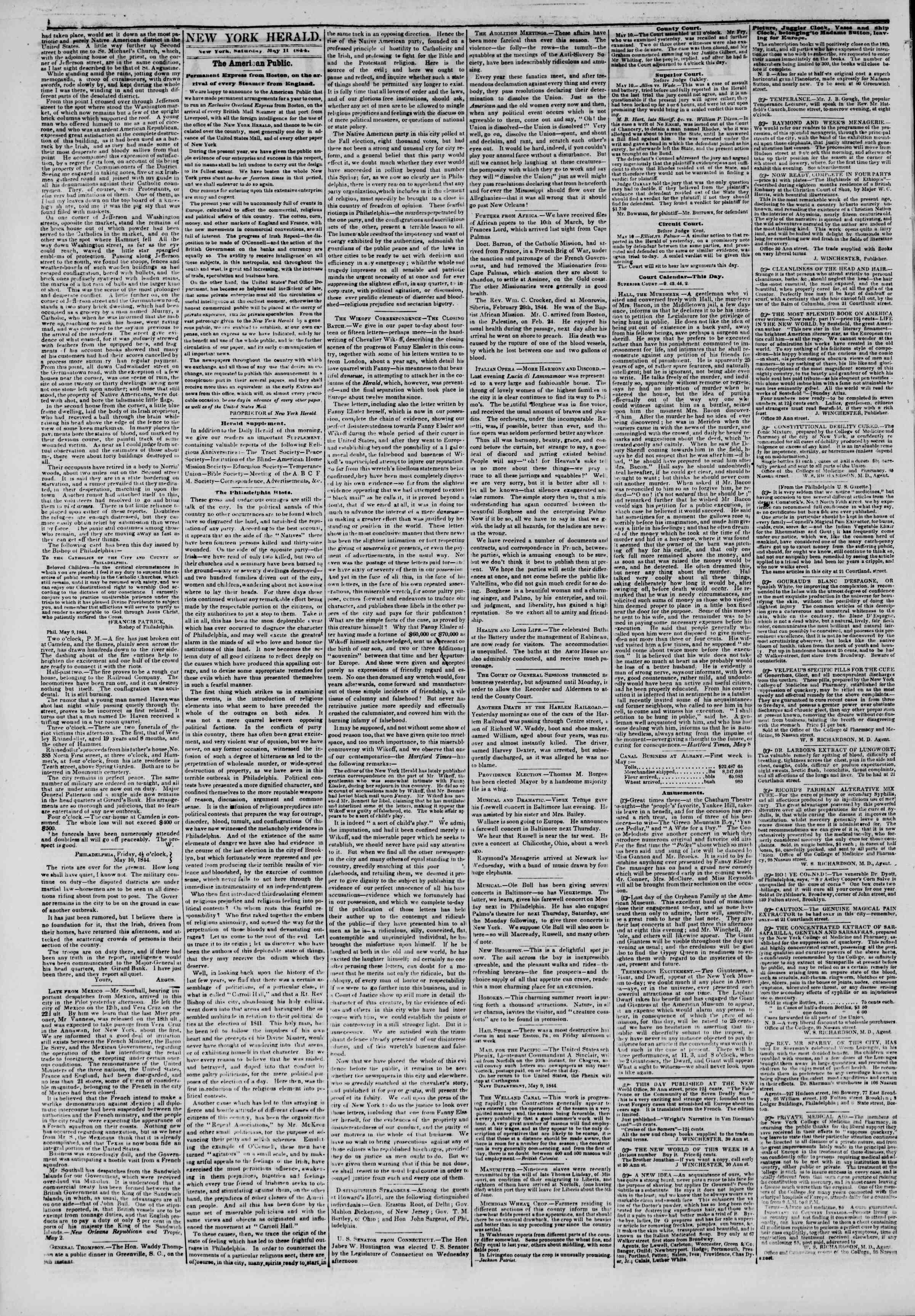 May 11, 1844 Tarihli The New York Herald Gazetesi Sayfa 2