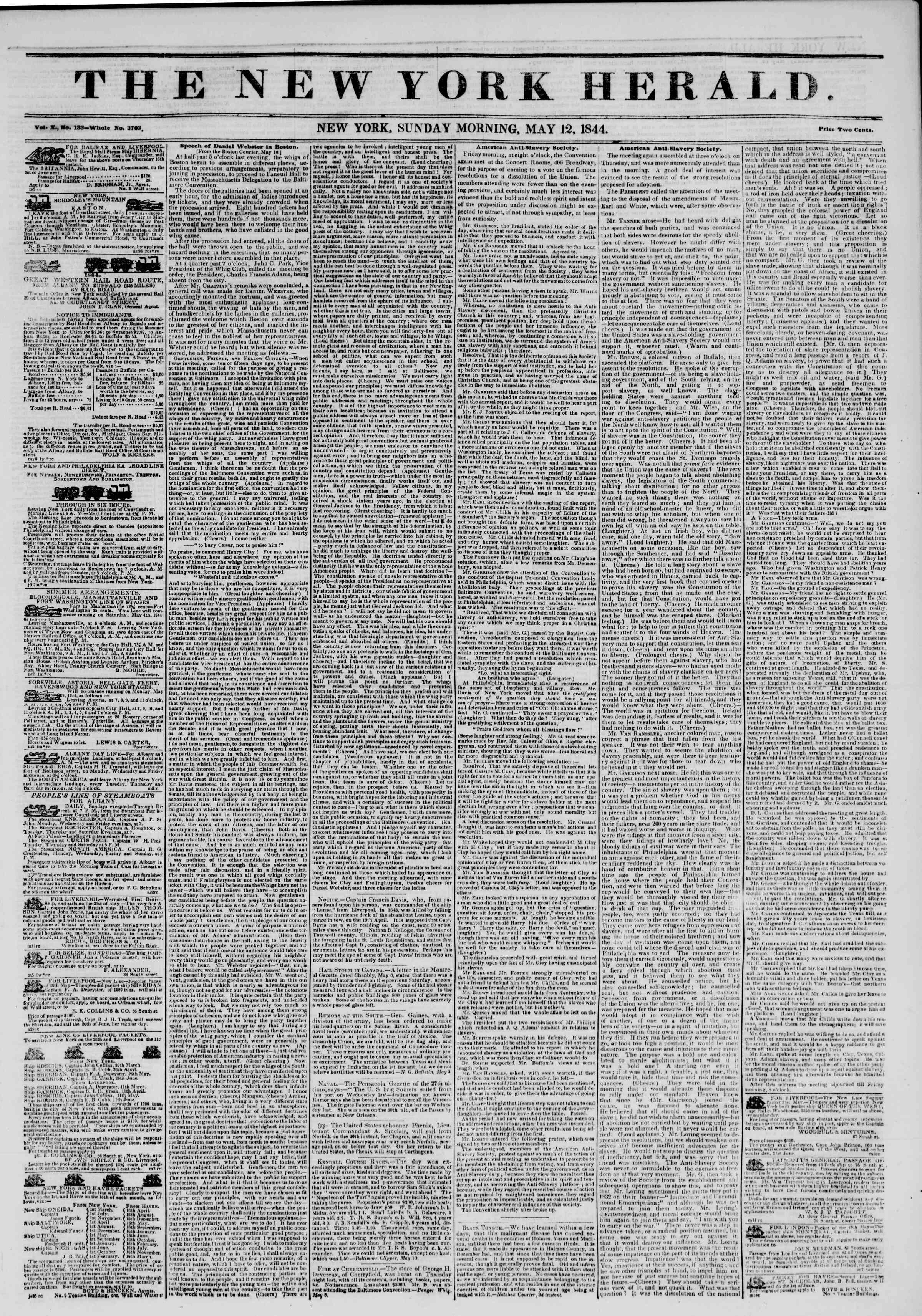 May 12, 1844 Tarihli The New York Herald Gazetesi Sayfa 1