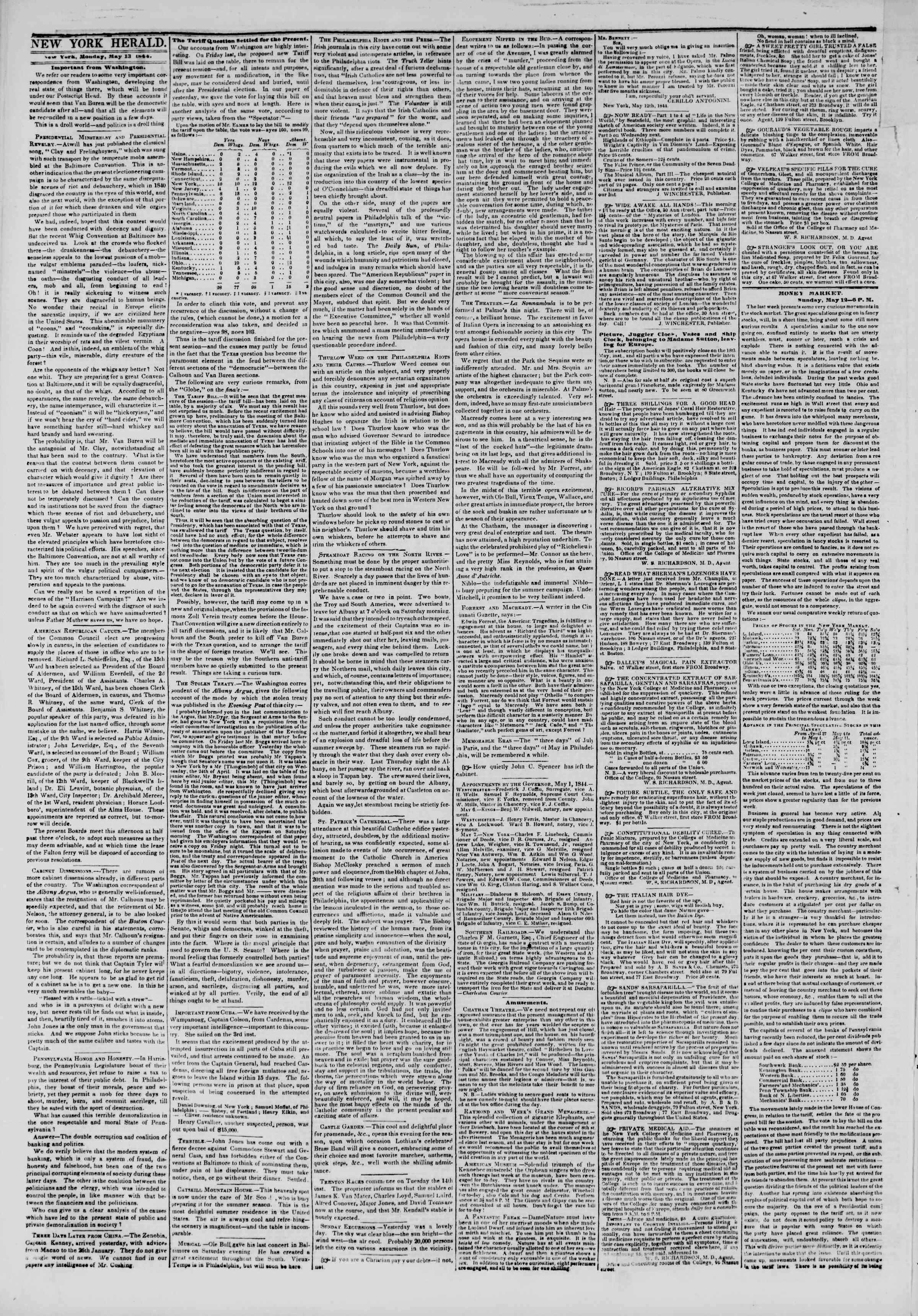 Newspaper of The New York Herald dated May 13, 1844 Page 2