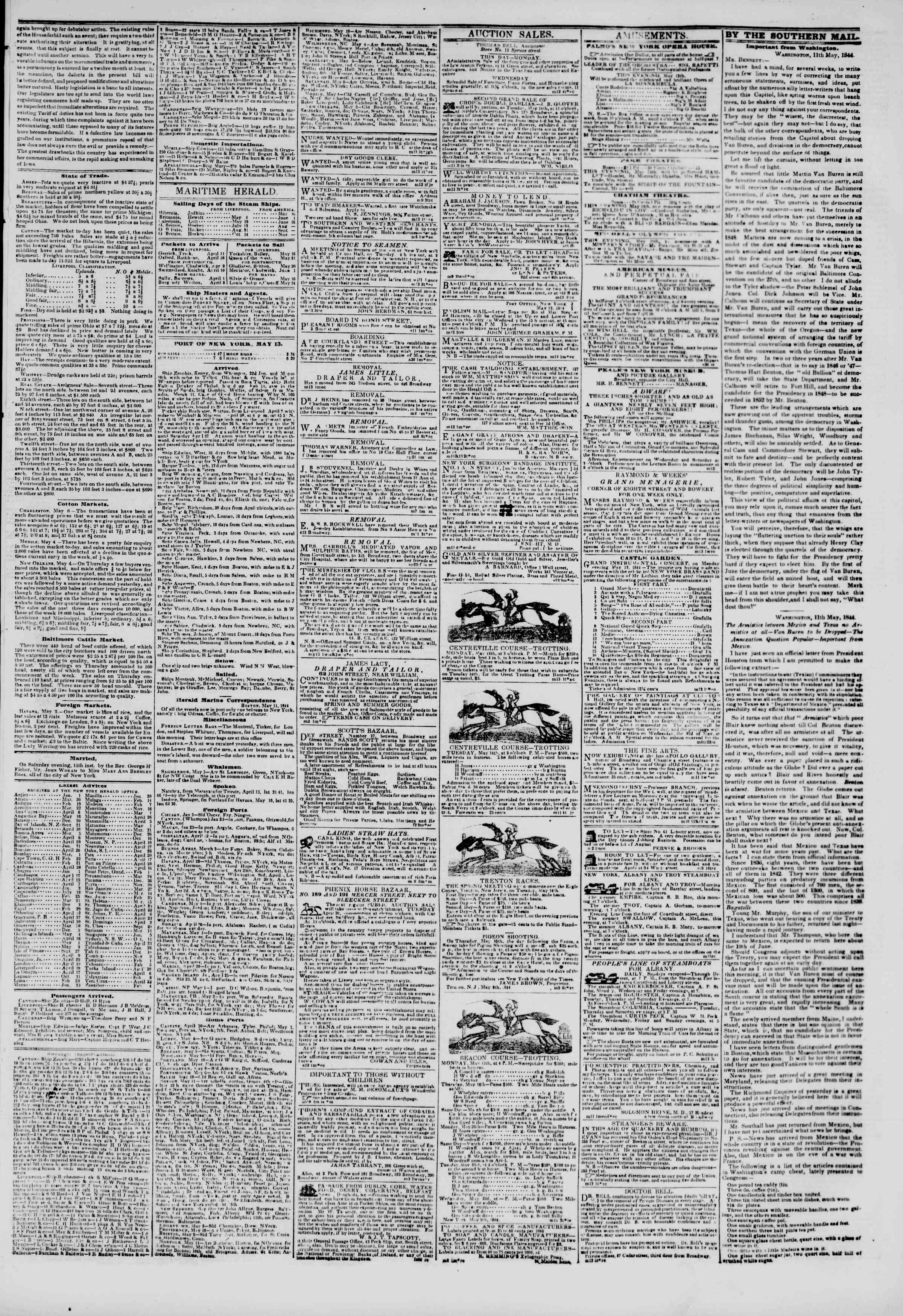 Newspaper of The New York Herald dated May 13, 1844 Page 3