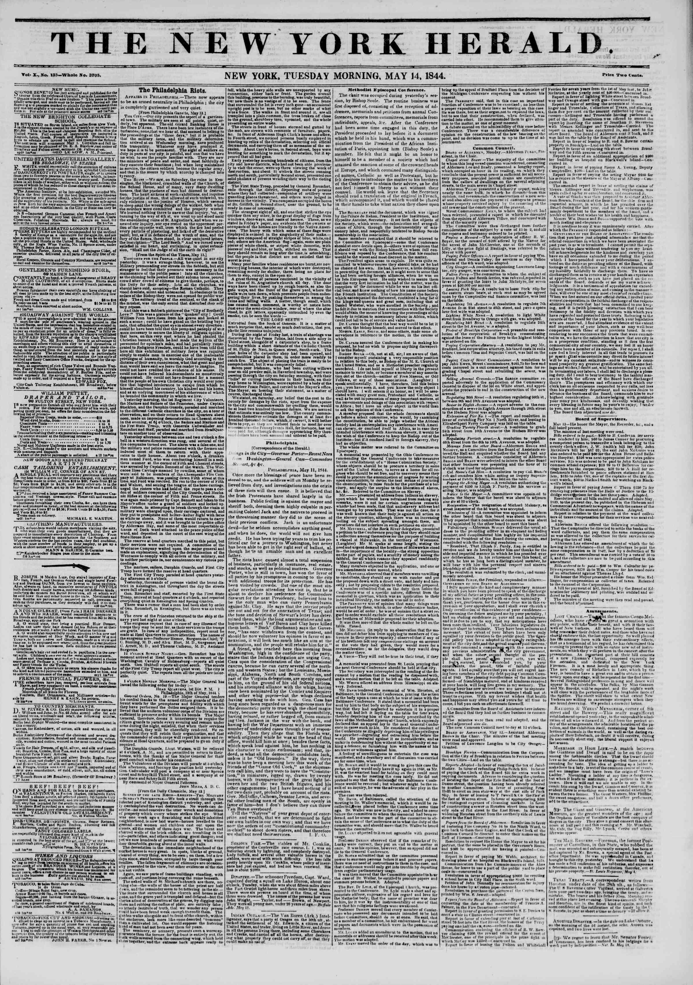 May 14, 1844 Tarihli The New York Herald Gazetesi Sayfa 1