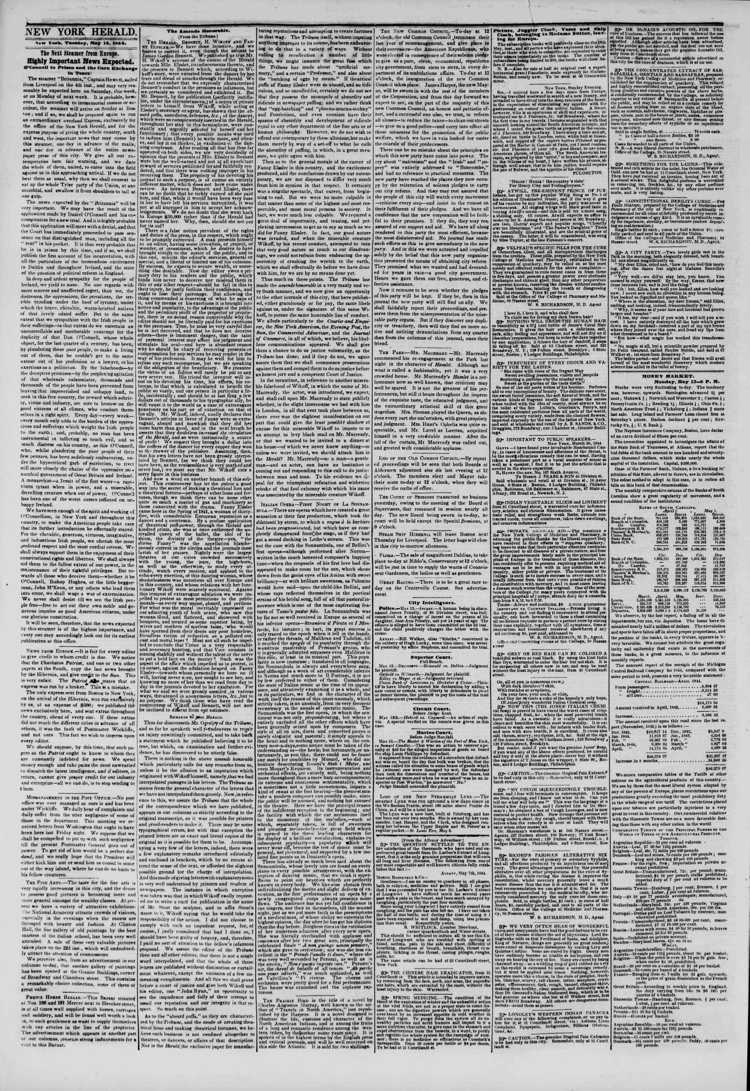 14 Mayıs 1844 tarihli The New York Herald Gazetesi Sayfa 2