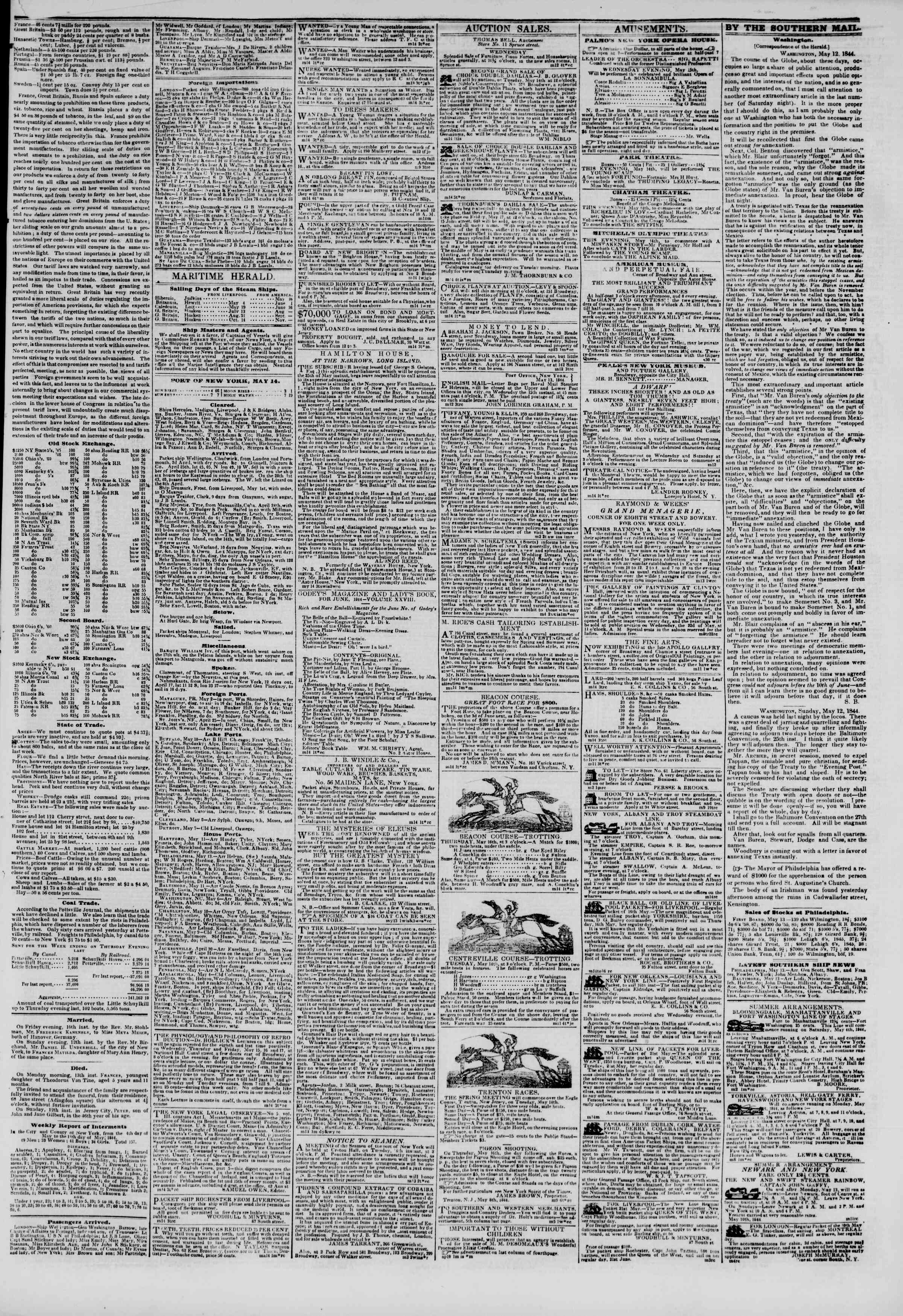 Newspaper of The New York Herald dated May 14, 1844 Page 3