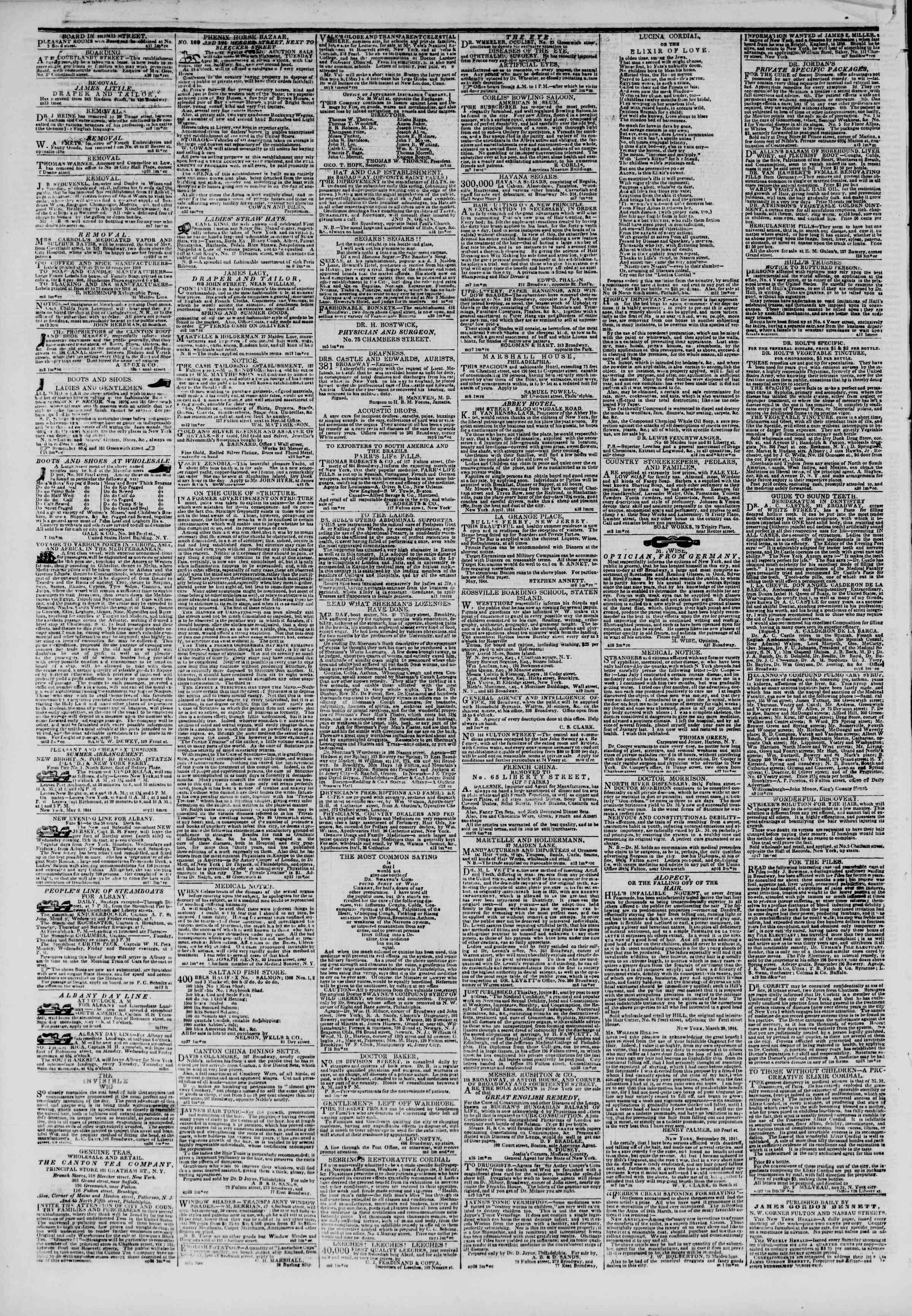 May 14, 1844 Tarihli The New York Herald Gazetesi Sayfa 4