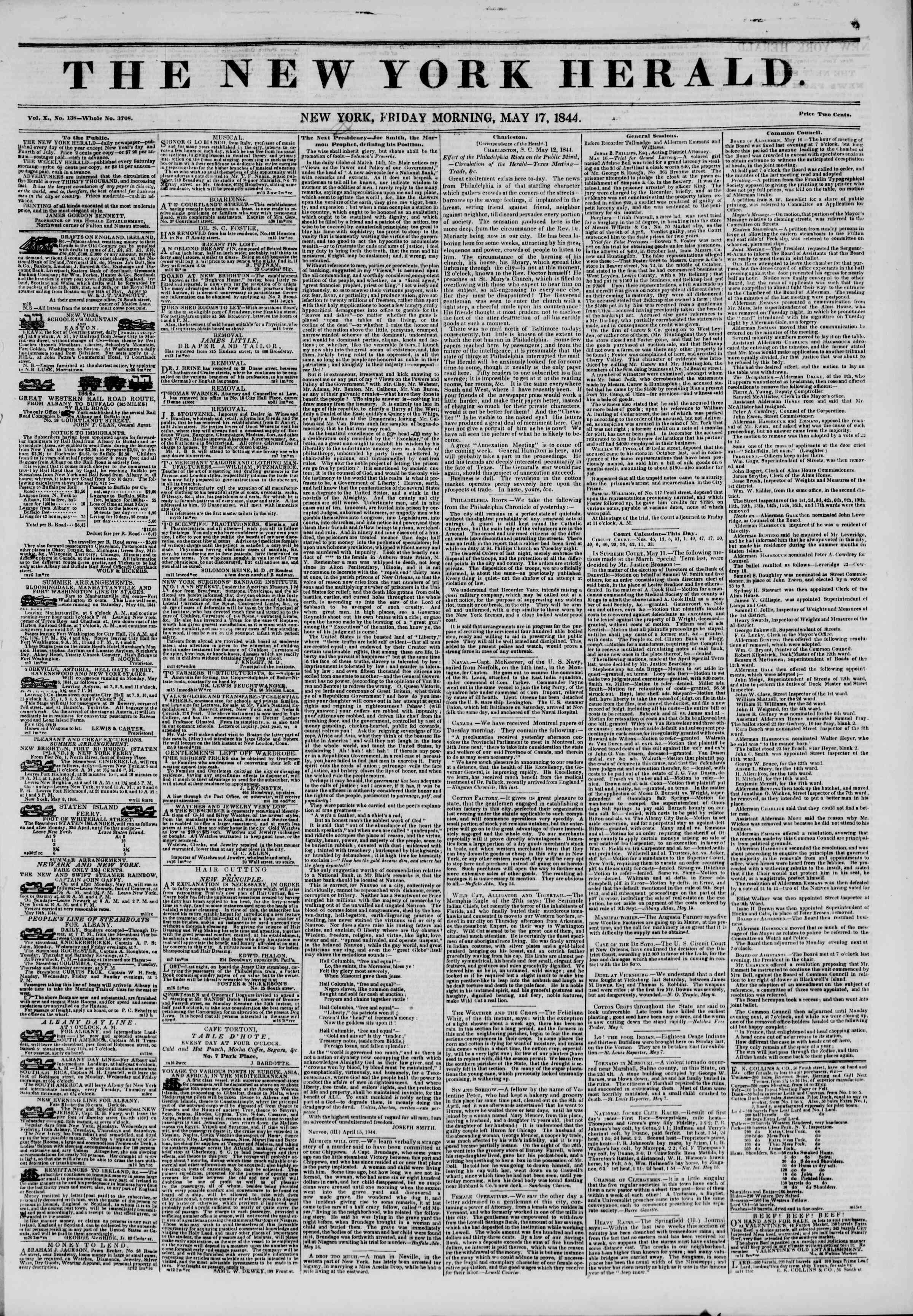 May 17, 1844 Tarihli The New York Herald Gazetesi Sayfa 1