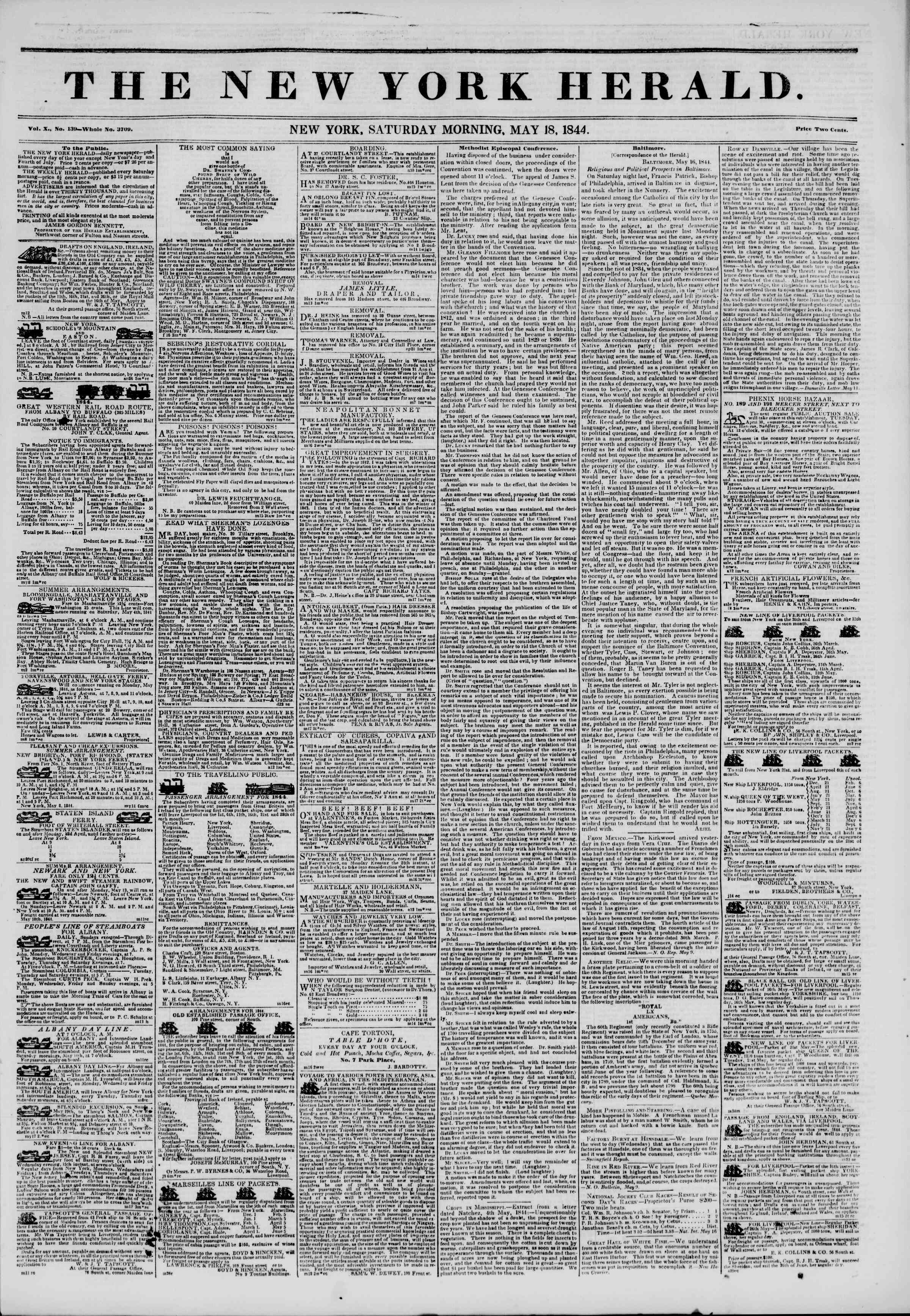 Newspaper of The New York Herald dated May 18, 1844 Page 1