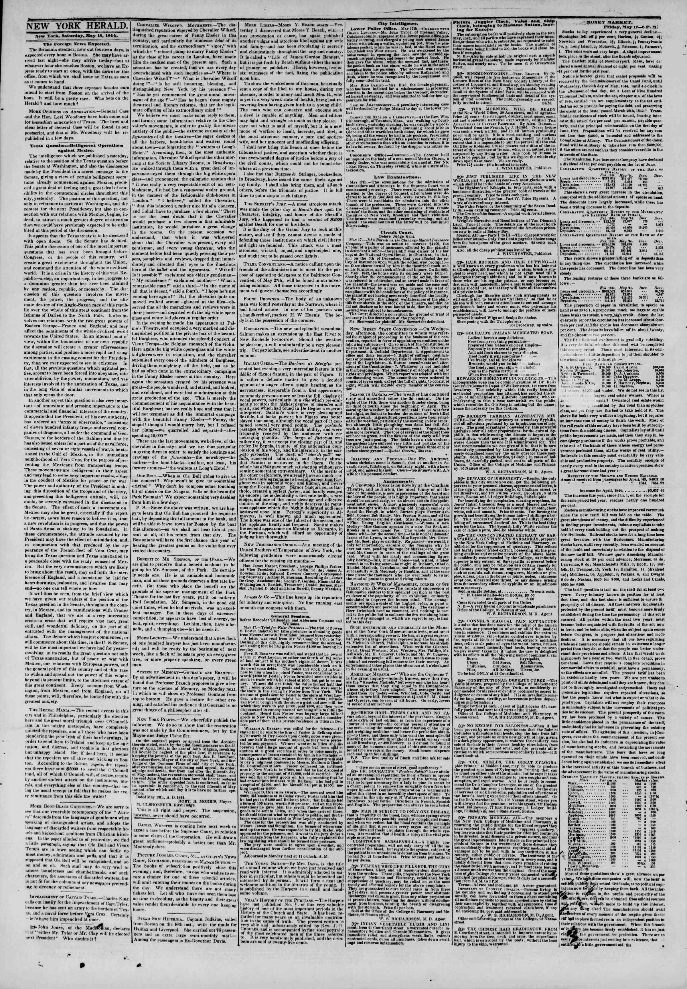 May 18, 1844 Tarihli The New York Herald Gazetesi Sayfa 2