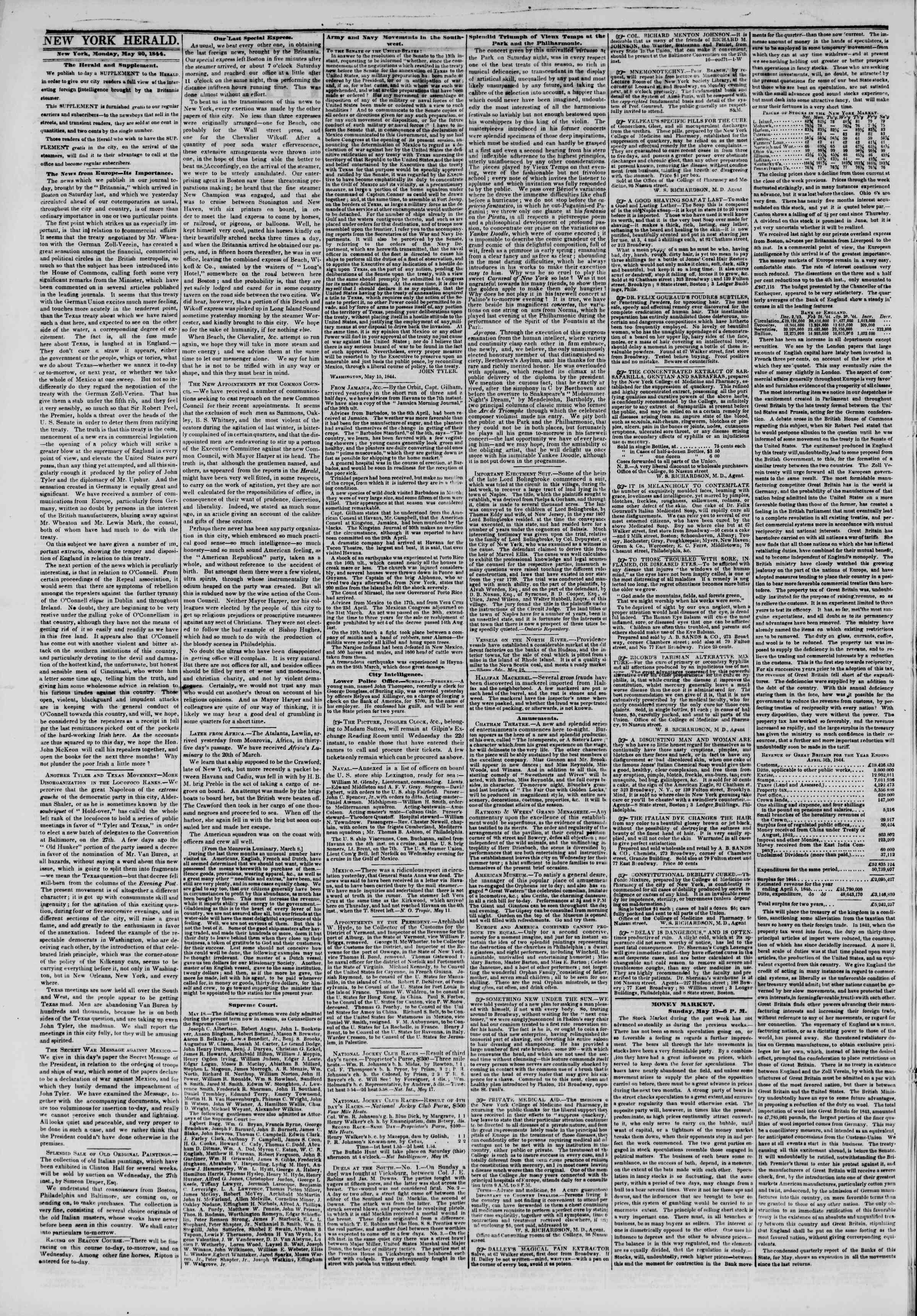Newspaper of The New York Herald dated May 20, 1844 Page 2