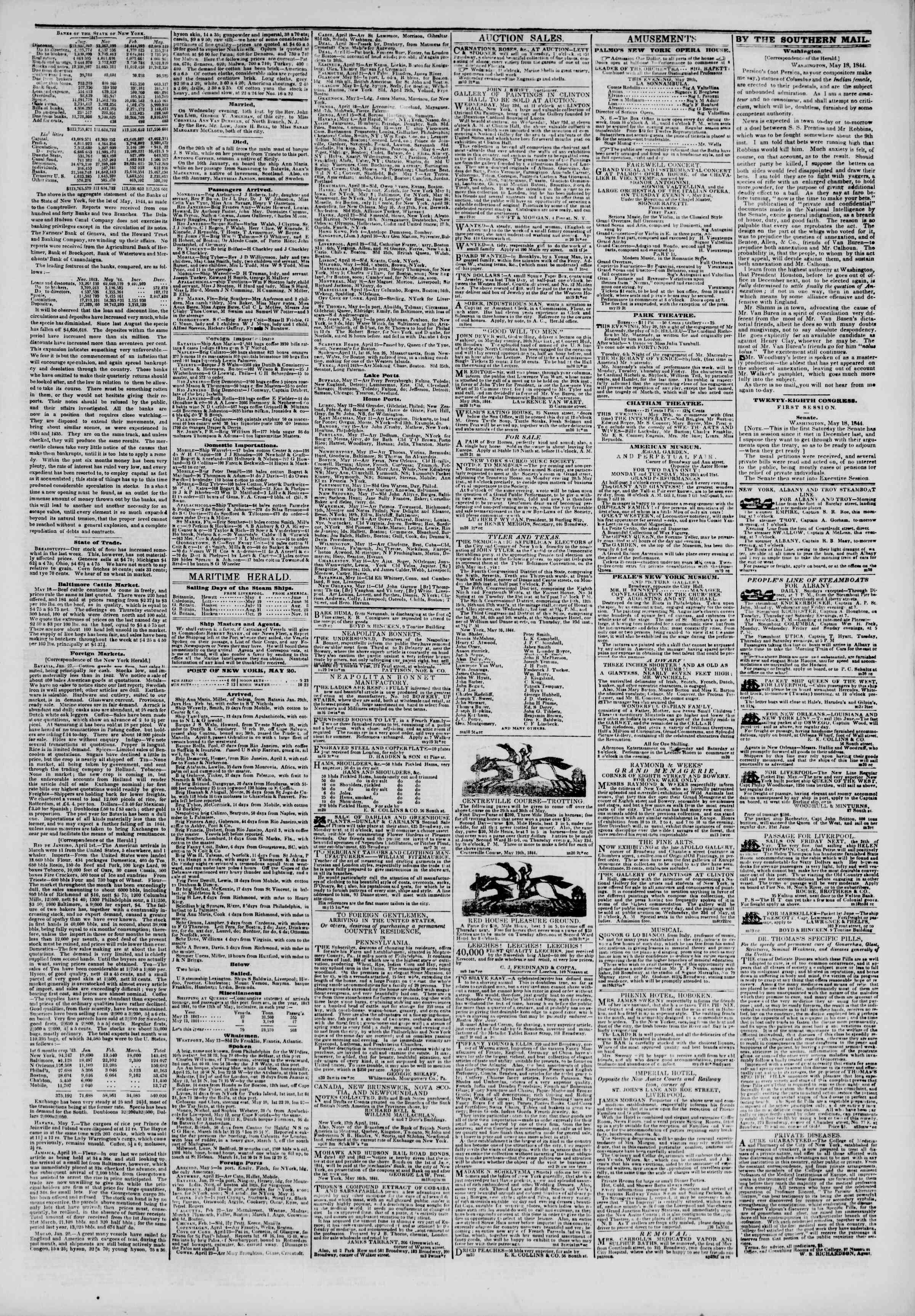 May 20, 1844 Tarihli The New York Herald Gazetesi Sayfa 3
