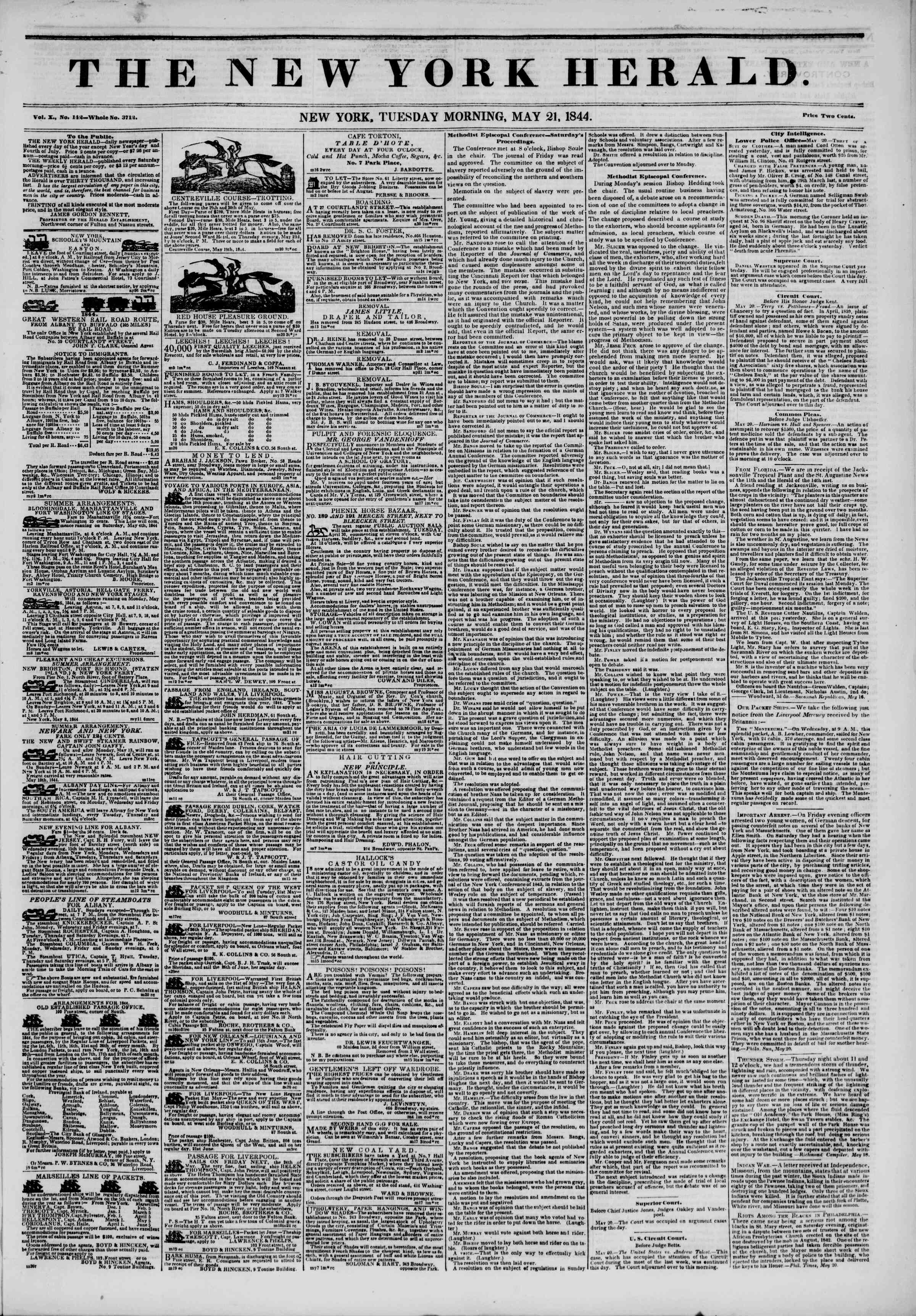 Newspaper of The New York Herald dated May 21, 1844 Page 1