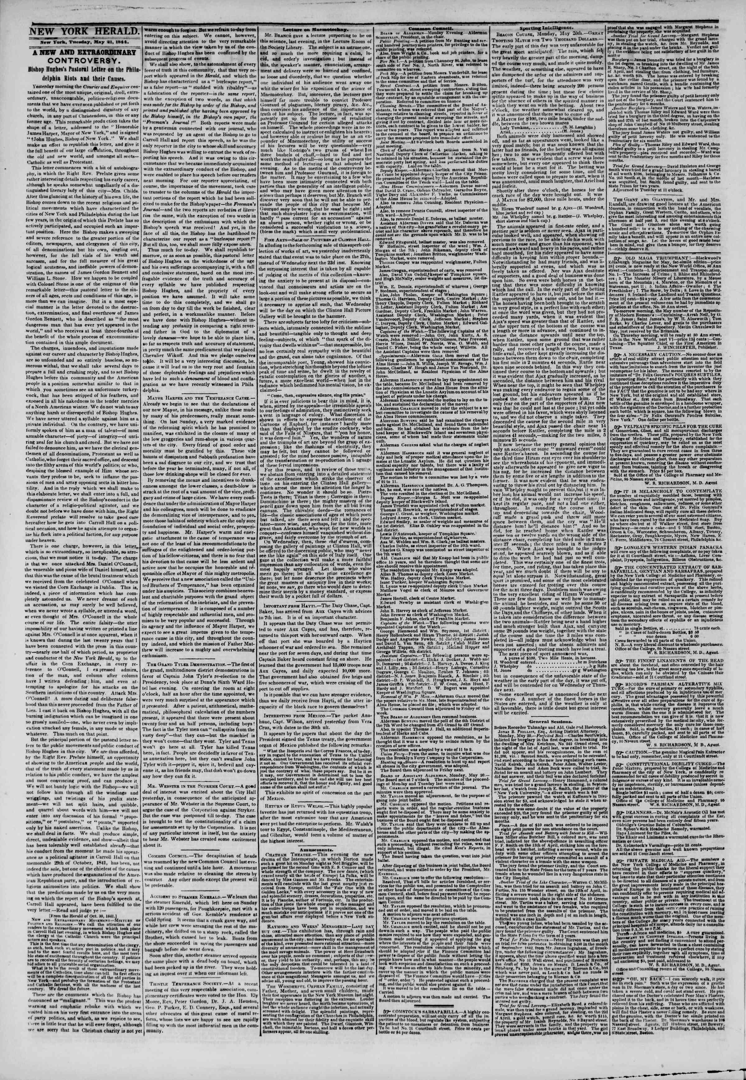 May 21, 1844 Tarihli The New York Herald Gazetesi Sayfa 2
