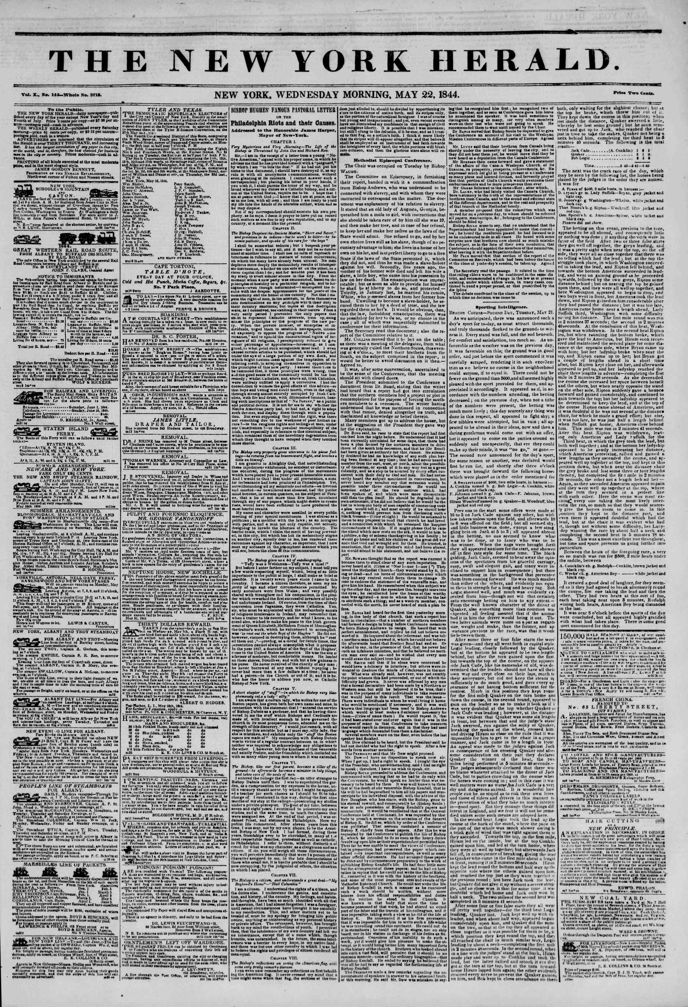 Newspaper of The New York Herald dated May 22, 1844 Page 1