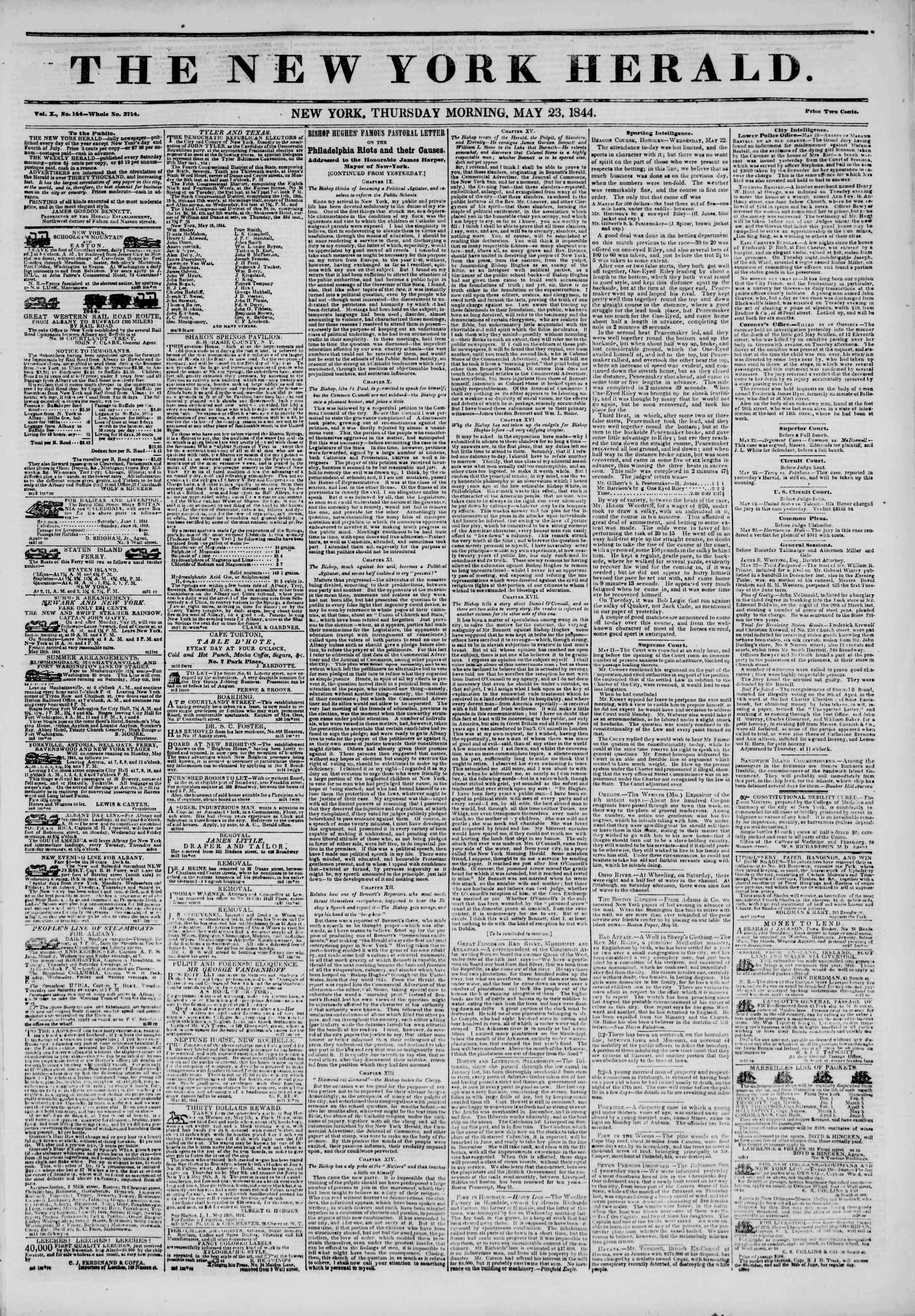 Newspaper of The New York Herald dated May 23, 1844 Page 1