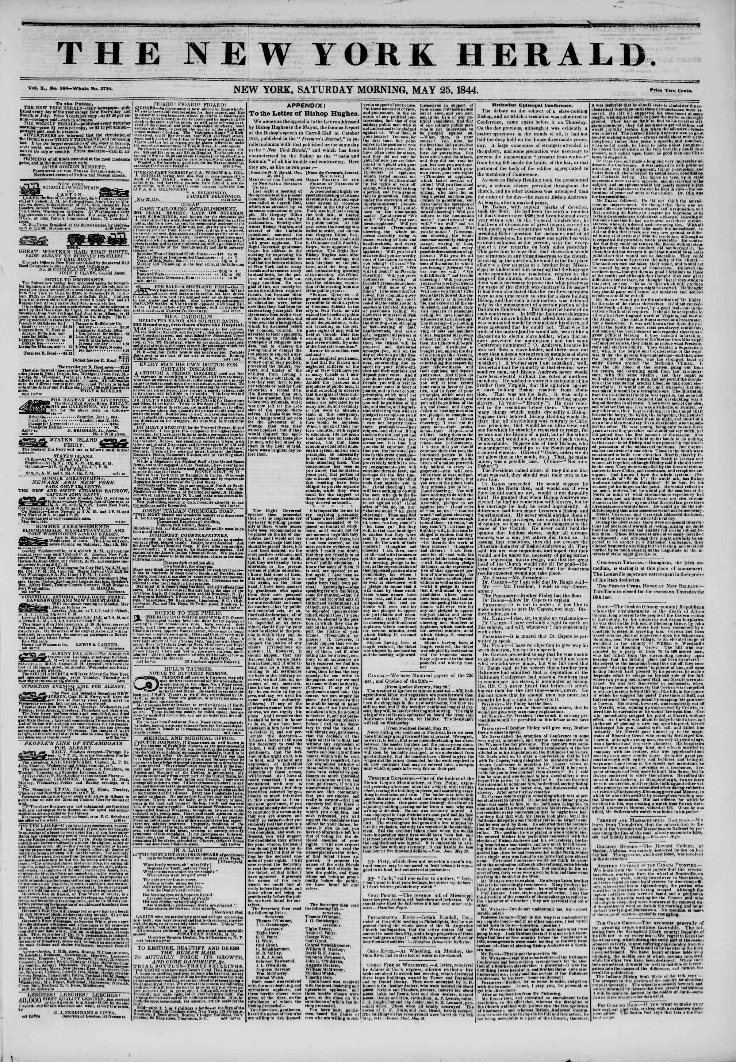 May 25, 1844 Tarihli The New York Herald Gazetesi Sayfa 1