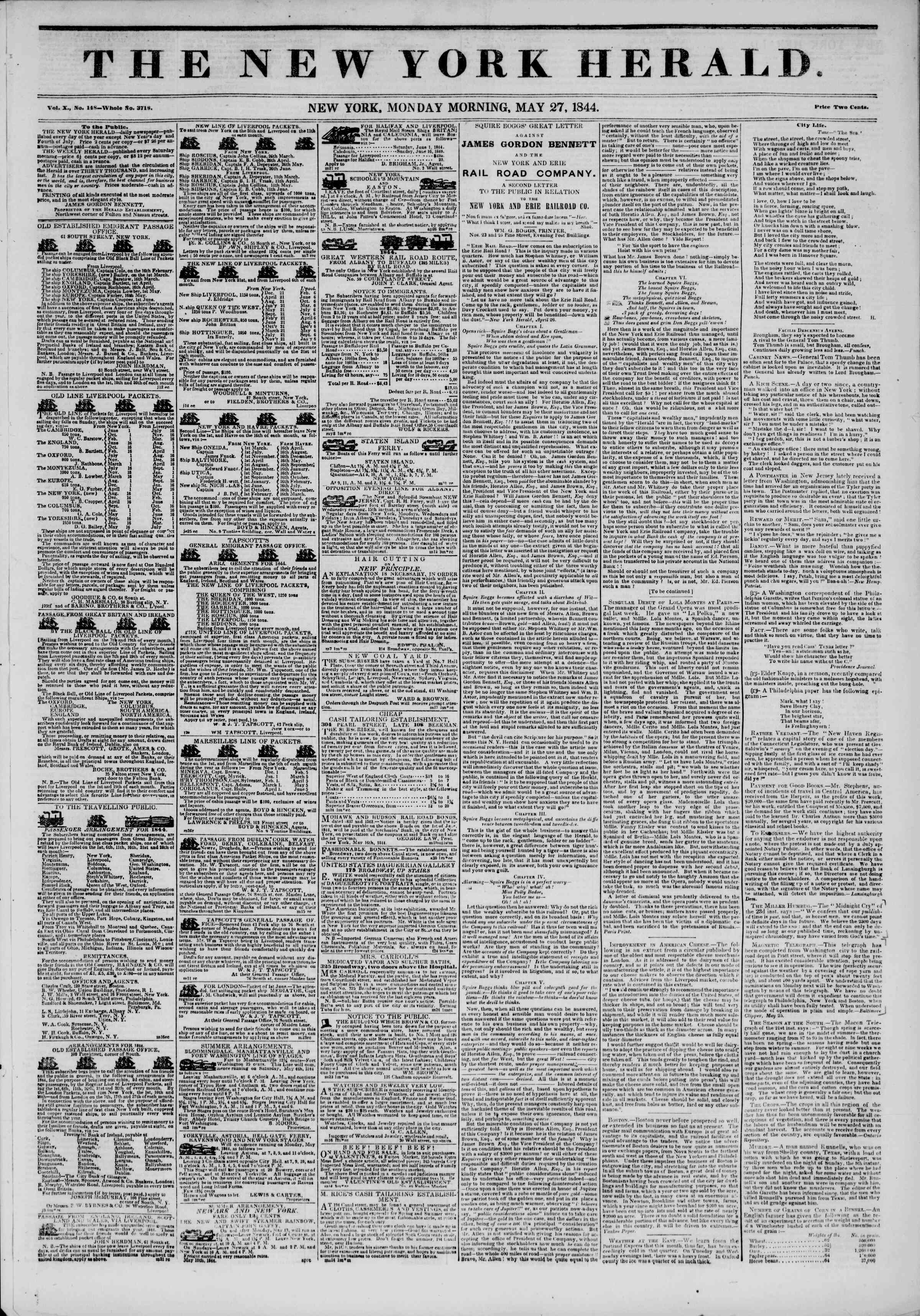 Newspaper of The New York Herald dated May 27, 1844 Page 1