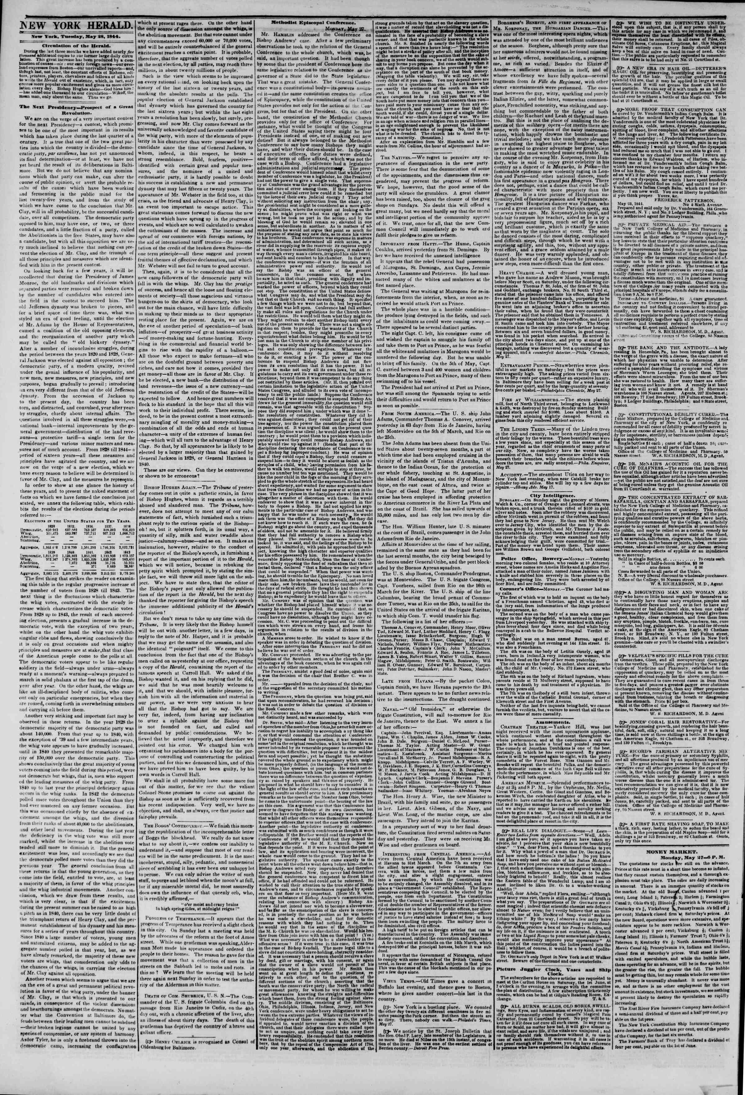 May 28, 1844 Tarihli The New York Herald Gazetesi Sayfa 2