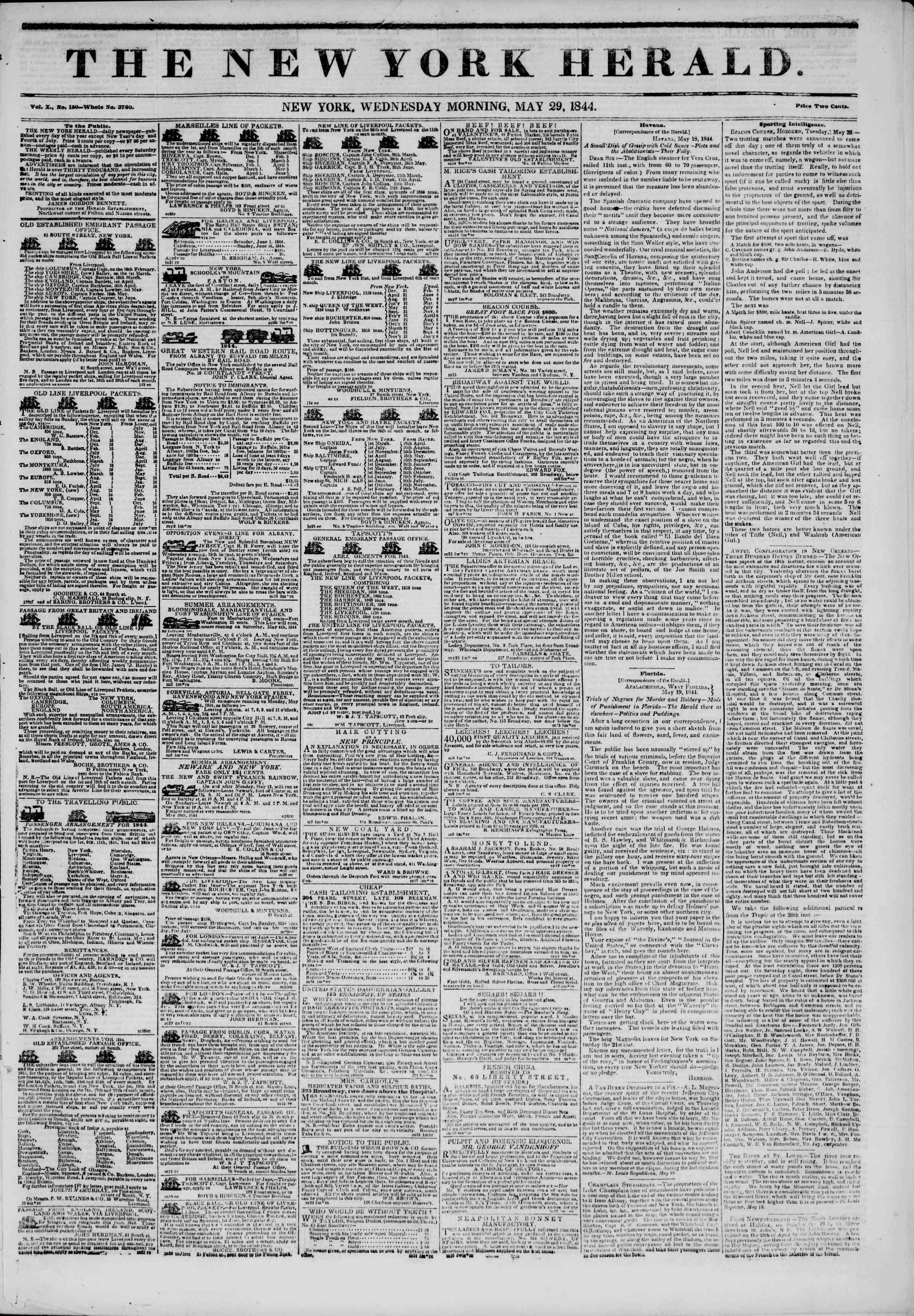 May 29, 1844 Tarihli The New York Herald Gazetesi Sayfa 1